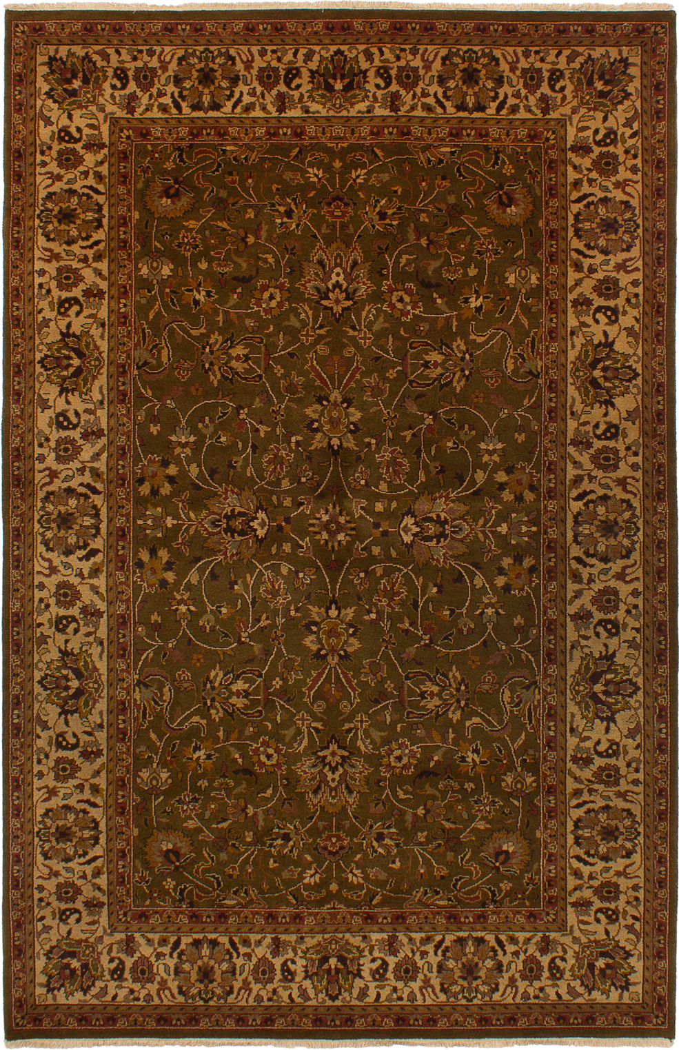 """Hand-knotted Jamshidpour Dark Olive Green Wool Rug 5'9"""" x 8'11"""" Size: 5'9"""" x 8'11"""""""