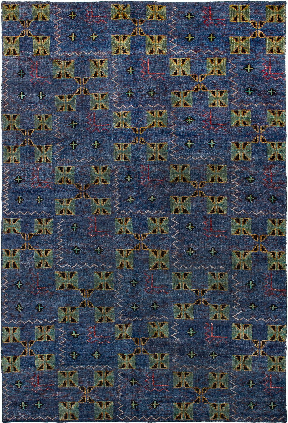 """Hand-knotted Sari Silk Blue Leather Rug 5'2"""" x 7'7"""" Size: 5'2"""" x 7'7"""""""