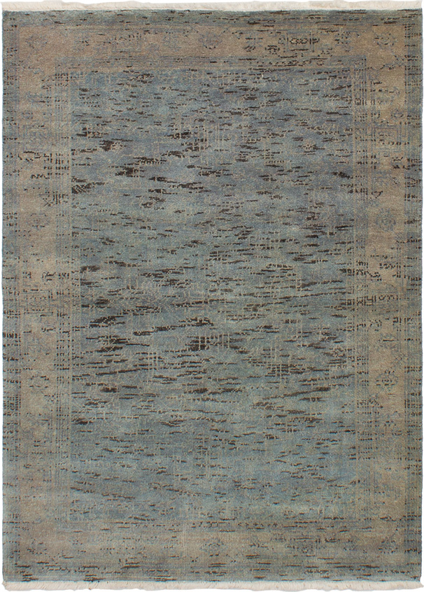 """Hand-knotted Elysee Finest Ushak Light Blue  Wool Rug 4'2"""" x 5'9"""" Size: 4'2"""" x 5'9"""""""