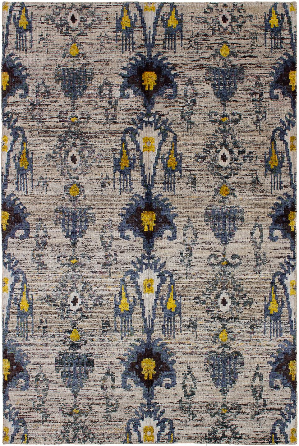 "Hand-knotted Sari Silk Cream, Slate Blue  Rug 5'1"" x 7'7"" Size: 5'1"" x 7'7"""