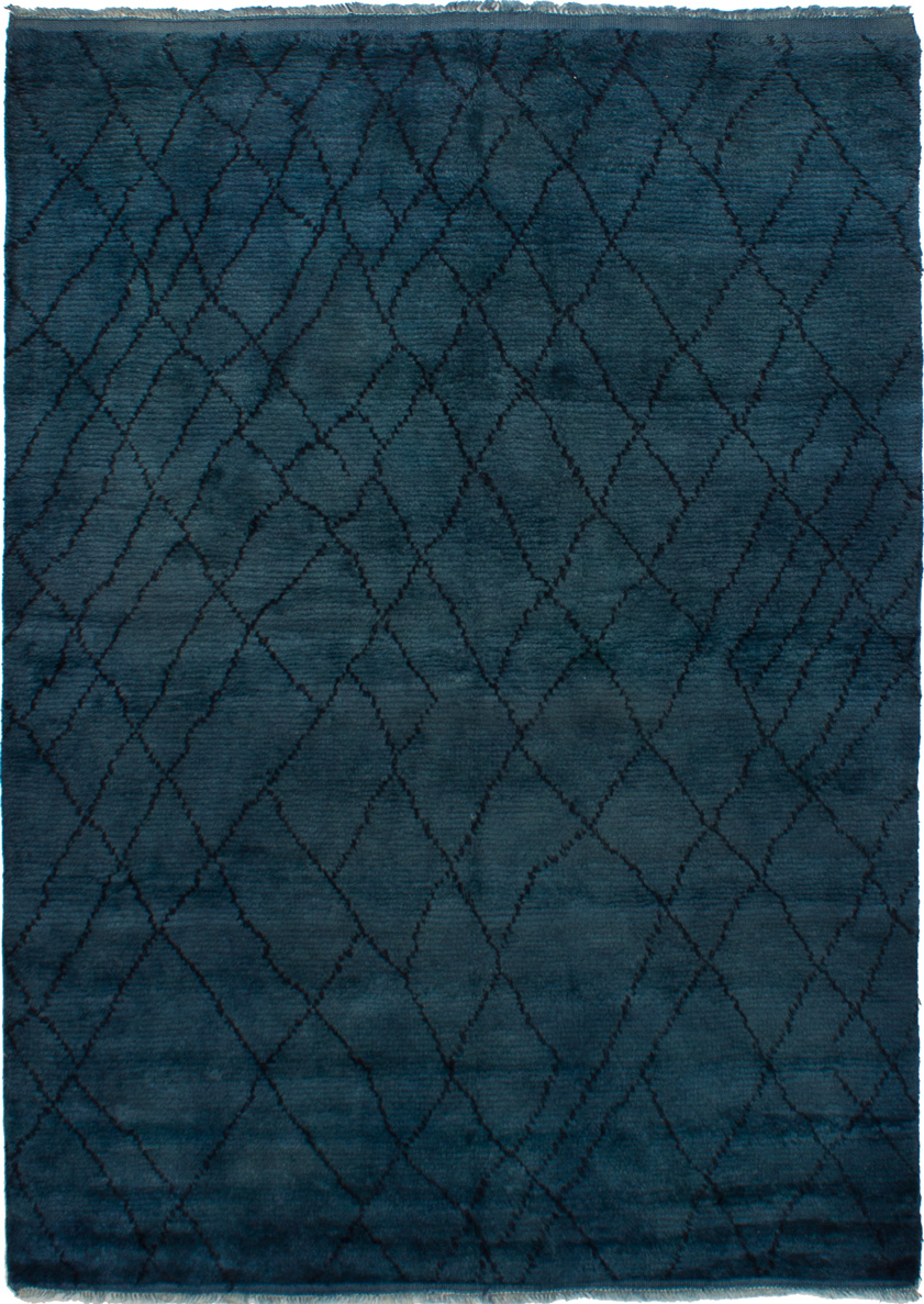 """Hand-knotted Tangier Denim Blue,  Wool Rug 5'9"""" x 8'0"""" Size: 5'9"""" x 8'0"""""""