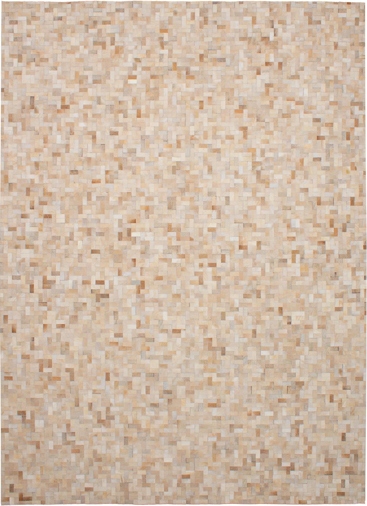 "Handmade Cowhide Patchwork Beige, Cream Leather Rug 9'2"" x 12'3"" Size: 9'2"" x 12'3"""