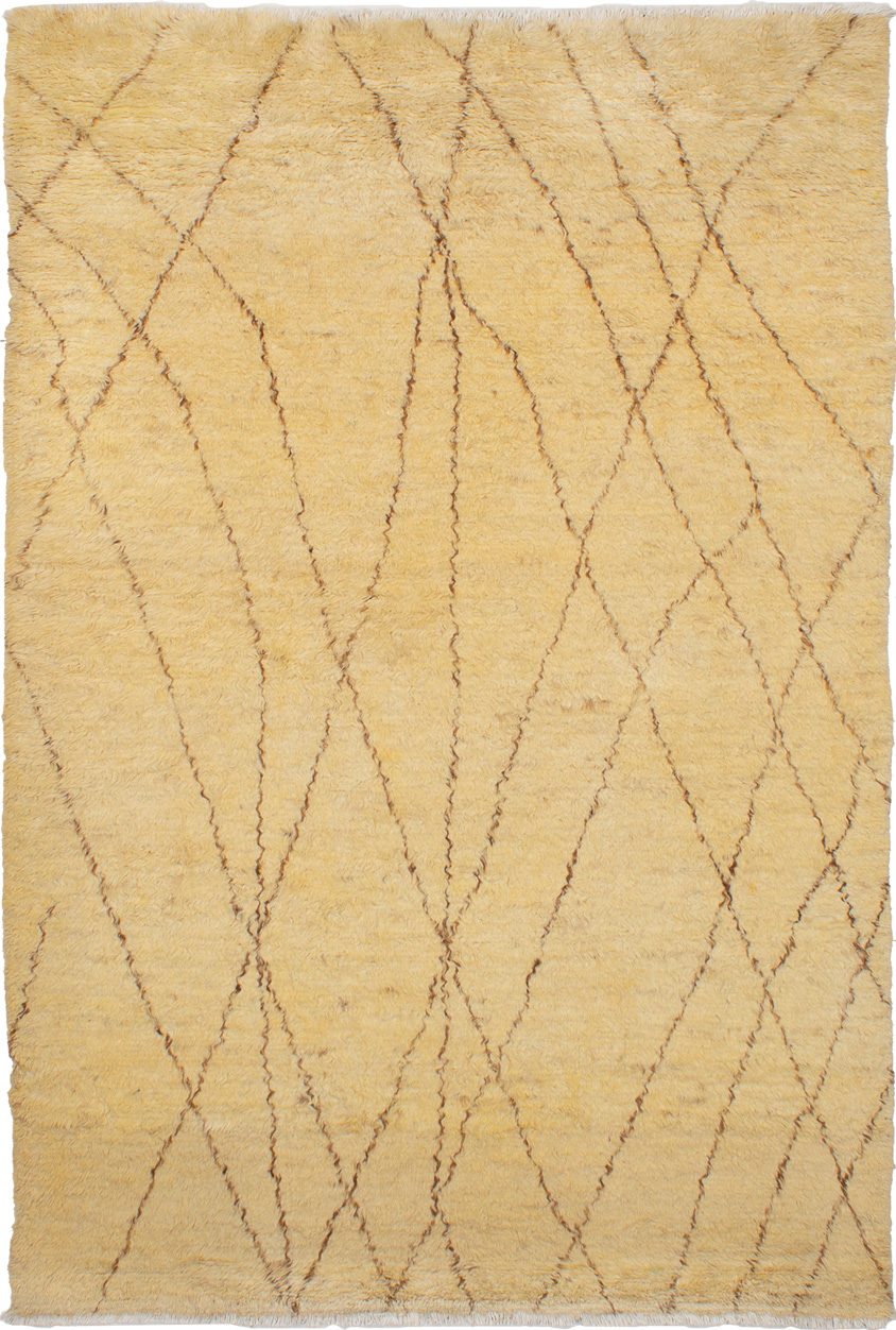 """Hand-knotted Royal Maroc Cream Wool Rug 5'8"""" x 8'7"""" Size: 5'8"""" x 8'7"""""""