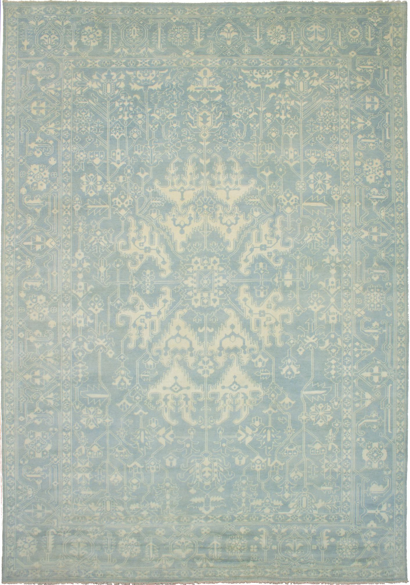 """Hand-knotted Elysee Finest Ushak Light Blue  Wool Rug 10'0"""" x 14'3"""" Size: 10'0"""" x 14'3"""""""