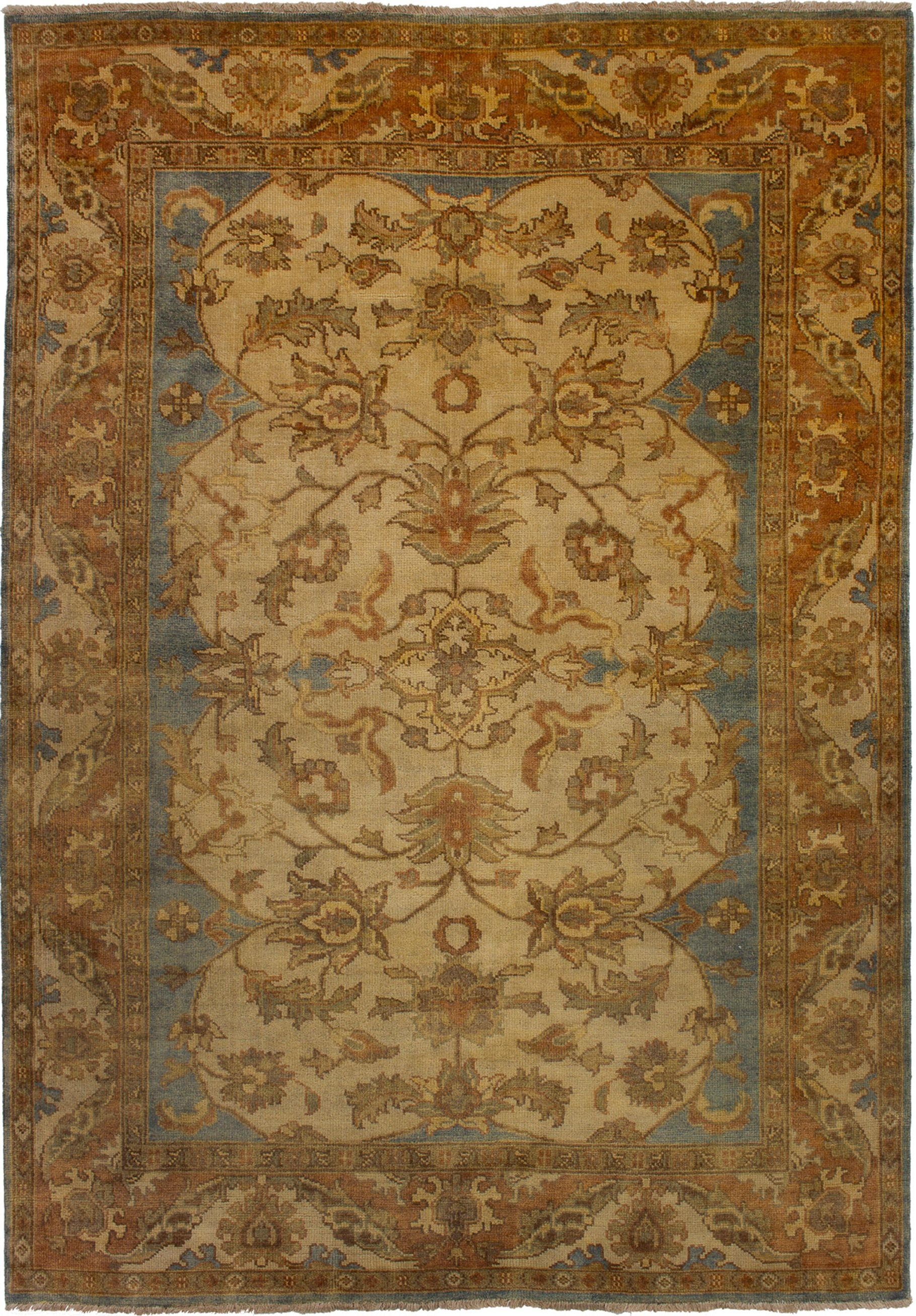 "Hand-knotted Royal Ushak Cream Wool Rug 6'1"" x 8'8""  Size: 6'1"" x 8'8"""