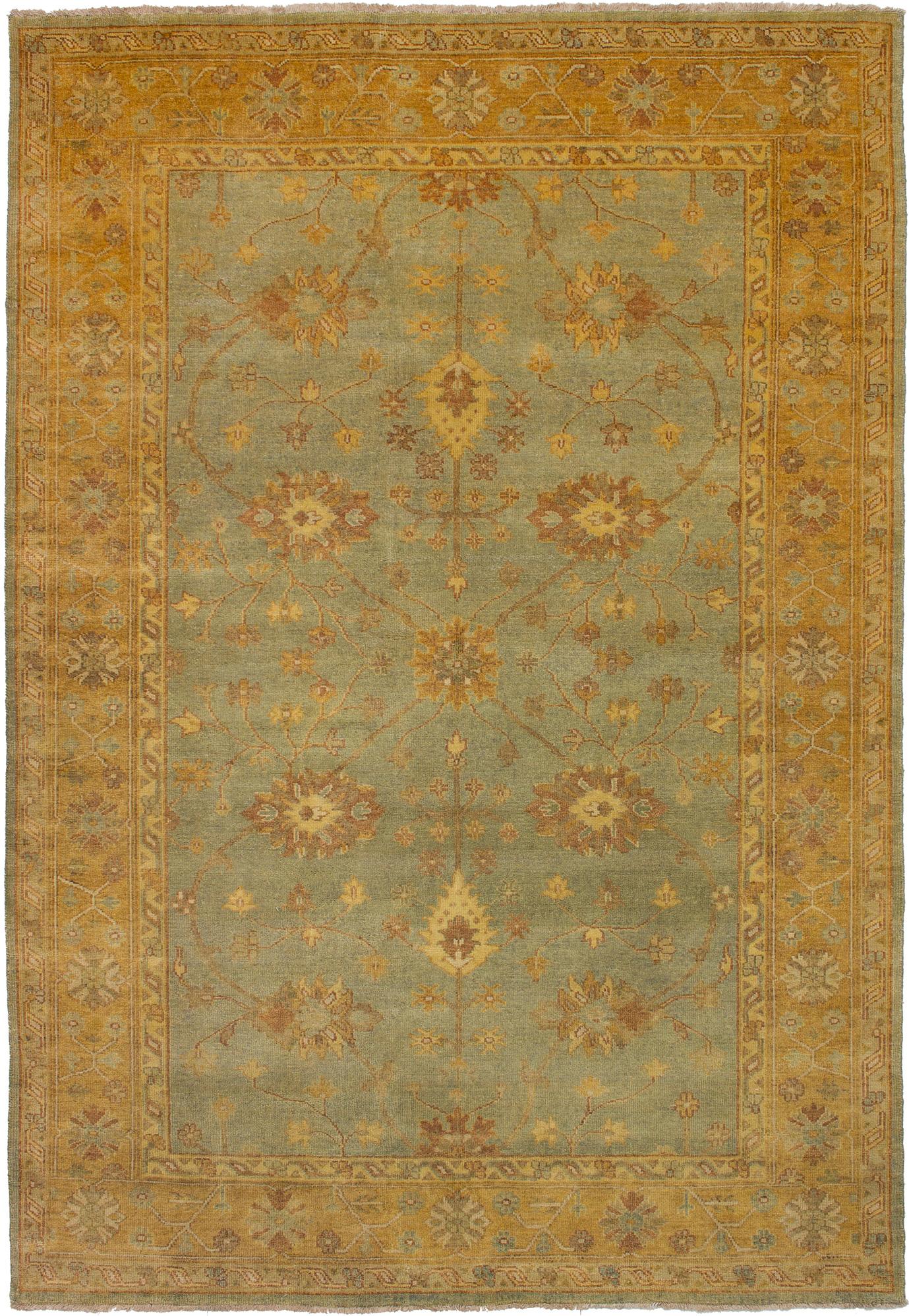 "Hand-knotted Royal Ushak Light Blue  Wool Rug 6'1"" x 8'10"" Size: 6'1"" x 8'10"""