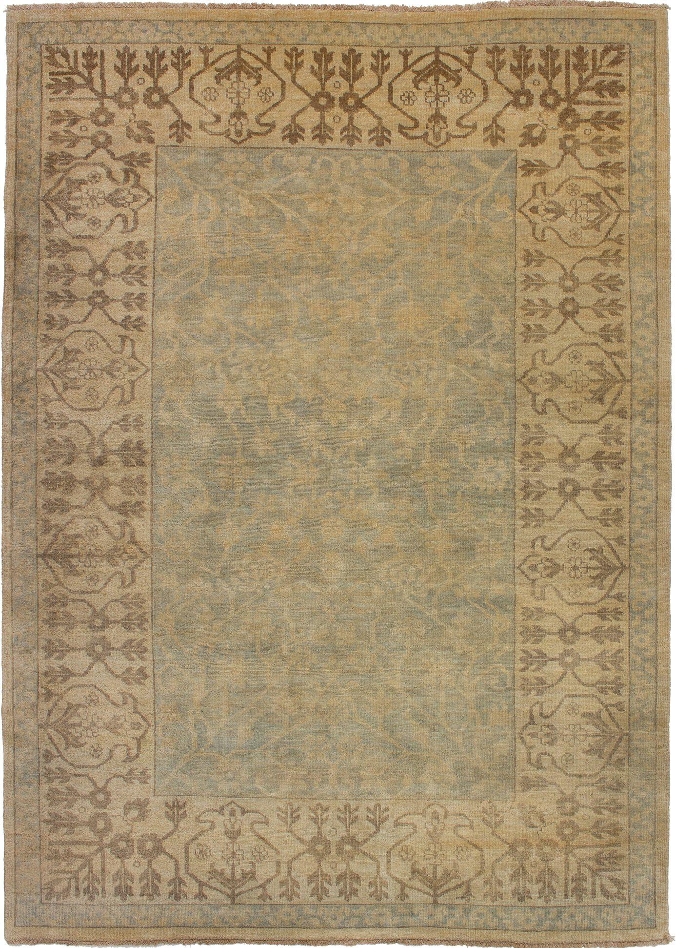 "Hand-knotted Royal Ushak Beige, Light Blue  Wool Rug 6'2"" x 8'7"" Size: 6'2"" x 8'7"""
