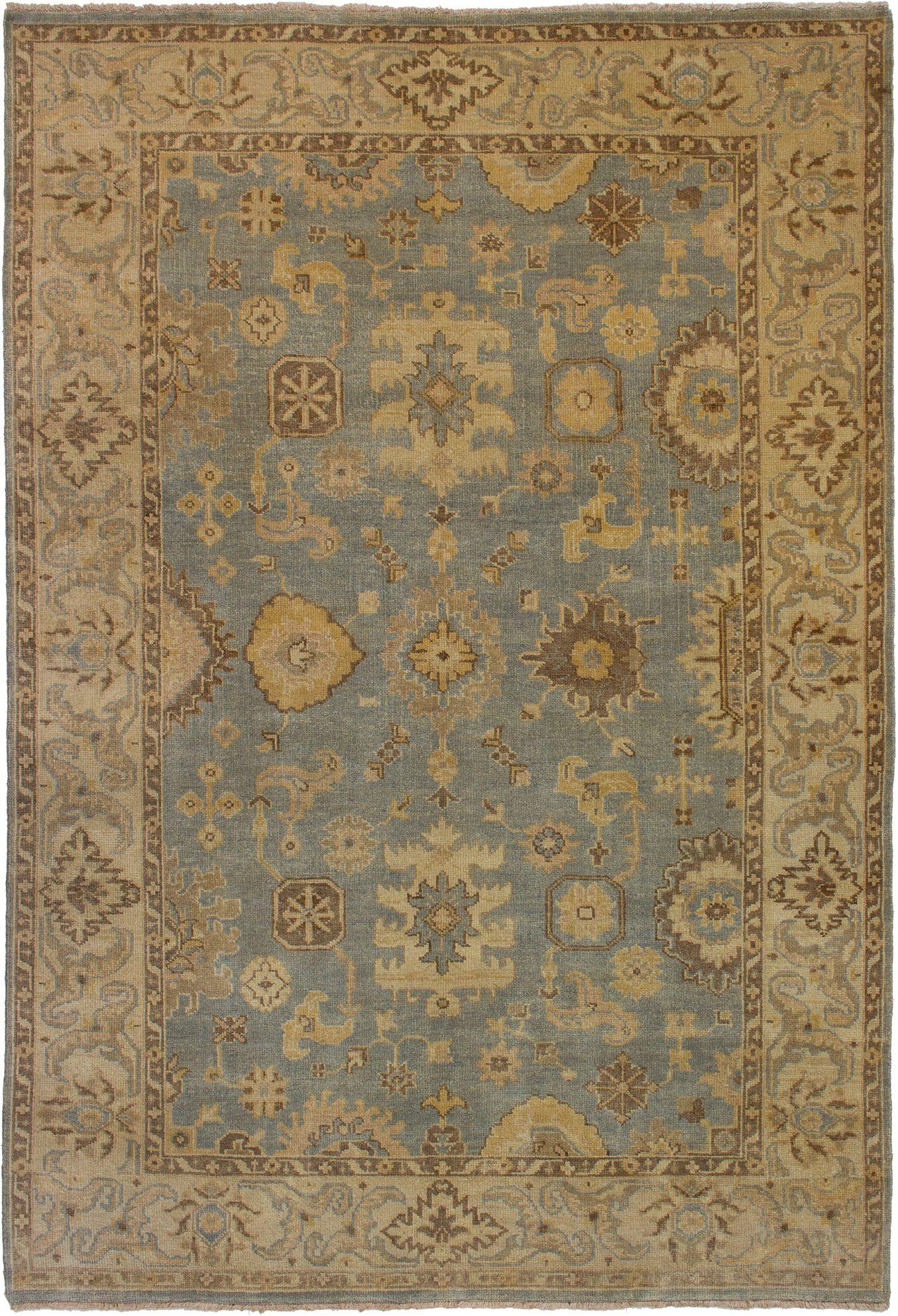 "Hand-knotted Royal Ushak Light Blue  Wool Rug 6'0"" x 8'9"" Size: 6'0"" x 8'9"""