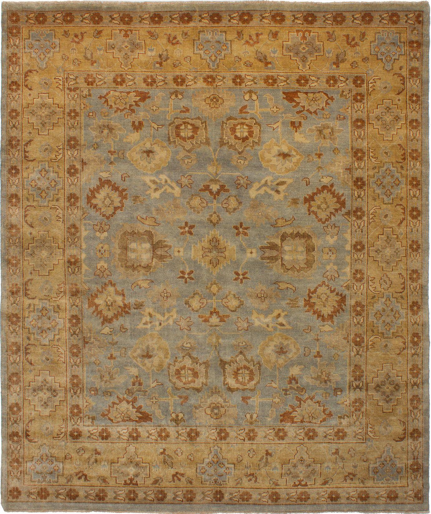 "Hand-knotted Royal Ushak Light Blue  Wool Rug 8'3"" x 9'10""  Size: 8'3"" x 9'10"""