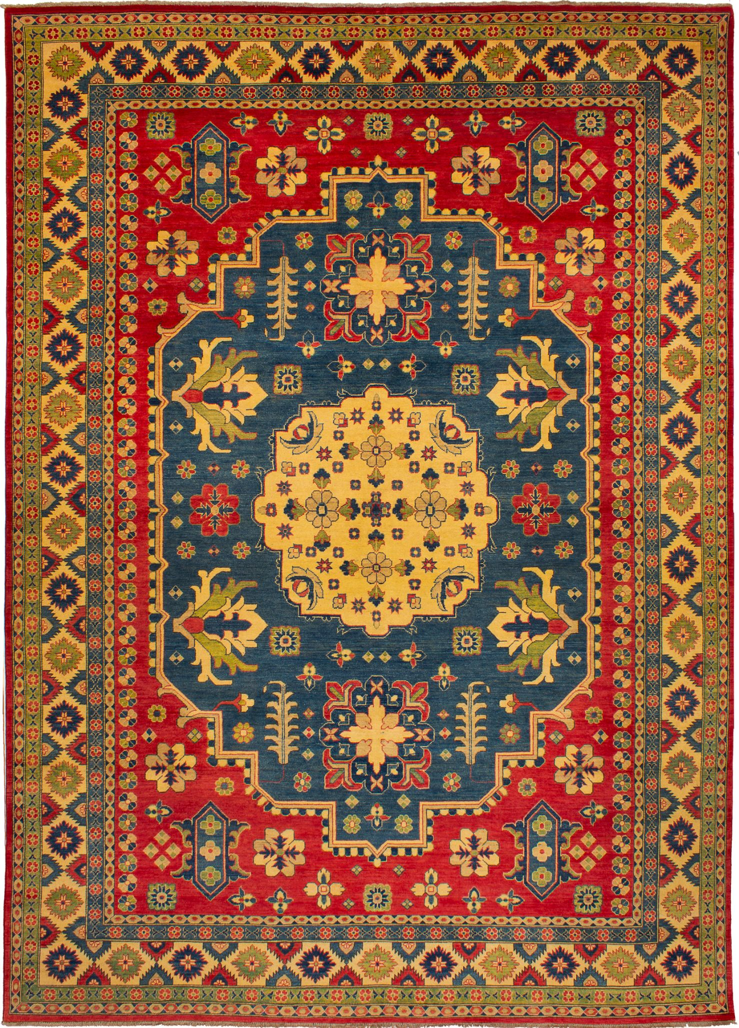 """Hand-knotted Finest Gazni Navy Blue, Red Wool Rug 9'10"""" x 13'7"""" Size: 9'10"""" x 13'7"""""""
