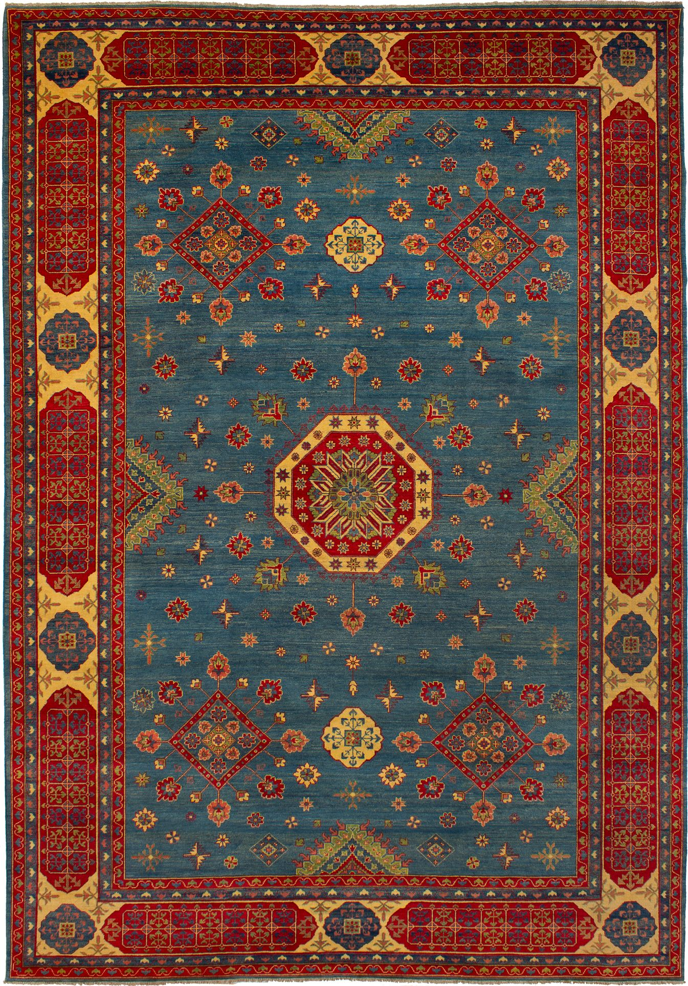 "Hand-knotted Finest Gazni Light Denim Blue,  Wool Rug 9'11"" x 14'1"" Product Image"