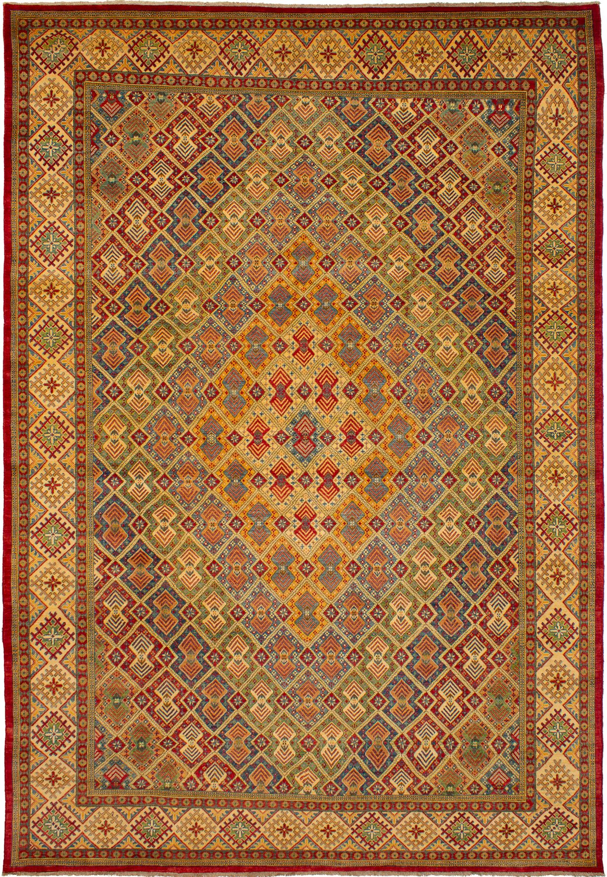 """Hand-knotted Finest Gazni Blue, Red Wool Rug 8'11"""" x 12'11"""" Size: 8'11"""" x 12'11"""""""