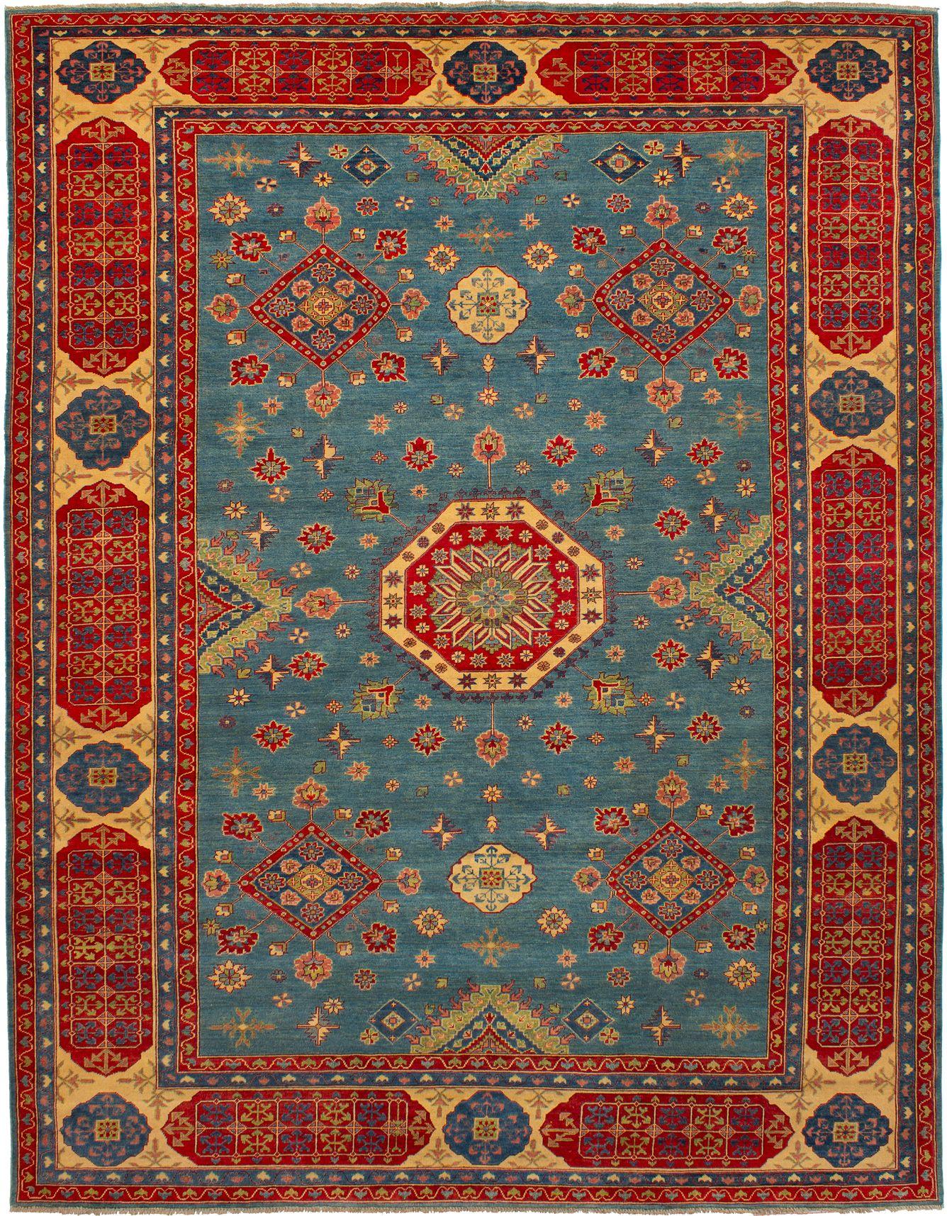 "Hand-knotted Finest Gazni Light Denim Blue Wool Rug 9'9"" x 12'7"" Size: 9'9"" x 12'7"""