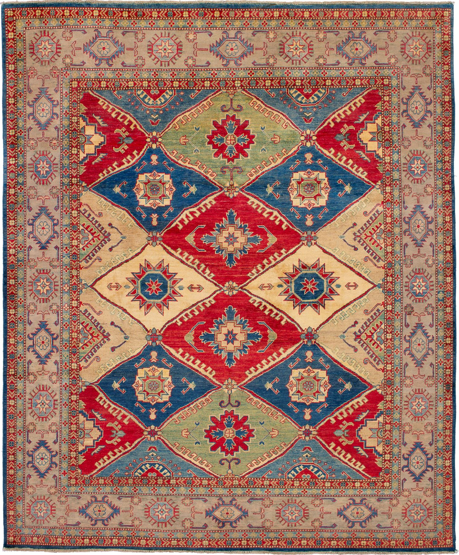 """Hand-knotted Finest Gazni Blue, Red Wool Rug 7'11"""" x 9'6"""" Size: 7'11"""" x 9'6"""""""