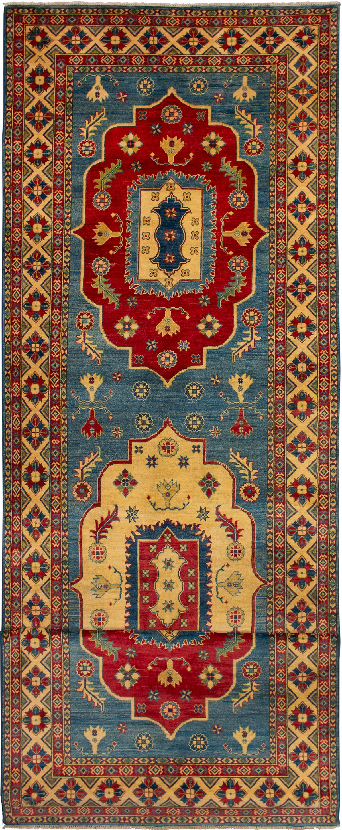 """Hand-knotted Finest Gazni Blue, Red Wool Rug 5'5"""" x 19'7"""" Size: 5'5"""" x 19'7"""""""