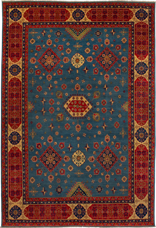 "Hand-knotted Finest Gazni Dark Baby Blue,  Wool Rug 9'7"" x 14'2"" Size: 9'7"" x 14'2"""