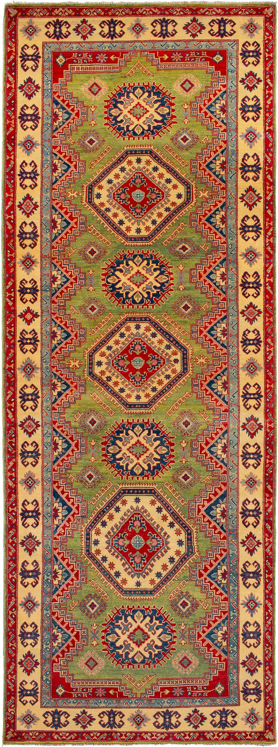 "Hand-knotted Finest Gazni Green Wool Rug 5'0"" x 13'11"" Product Image"