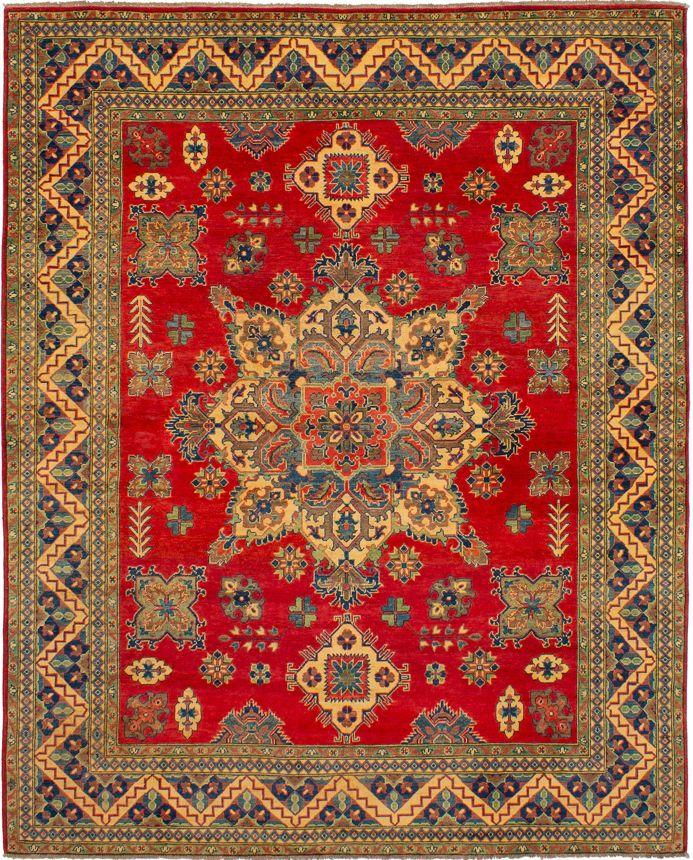 """Hand-knotted Finest Gazni Red Wool Rug 8'0"""" x 9'10""""  Size: 8'0"""" x 9'10"""""""