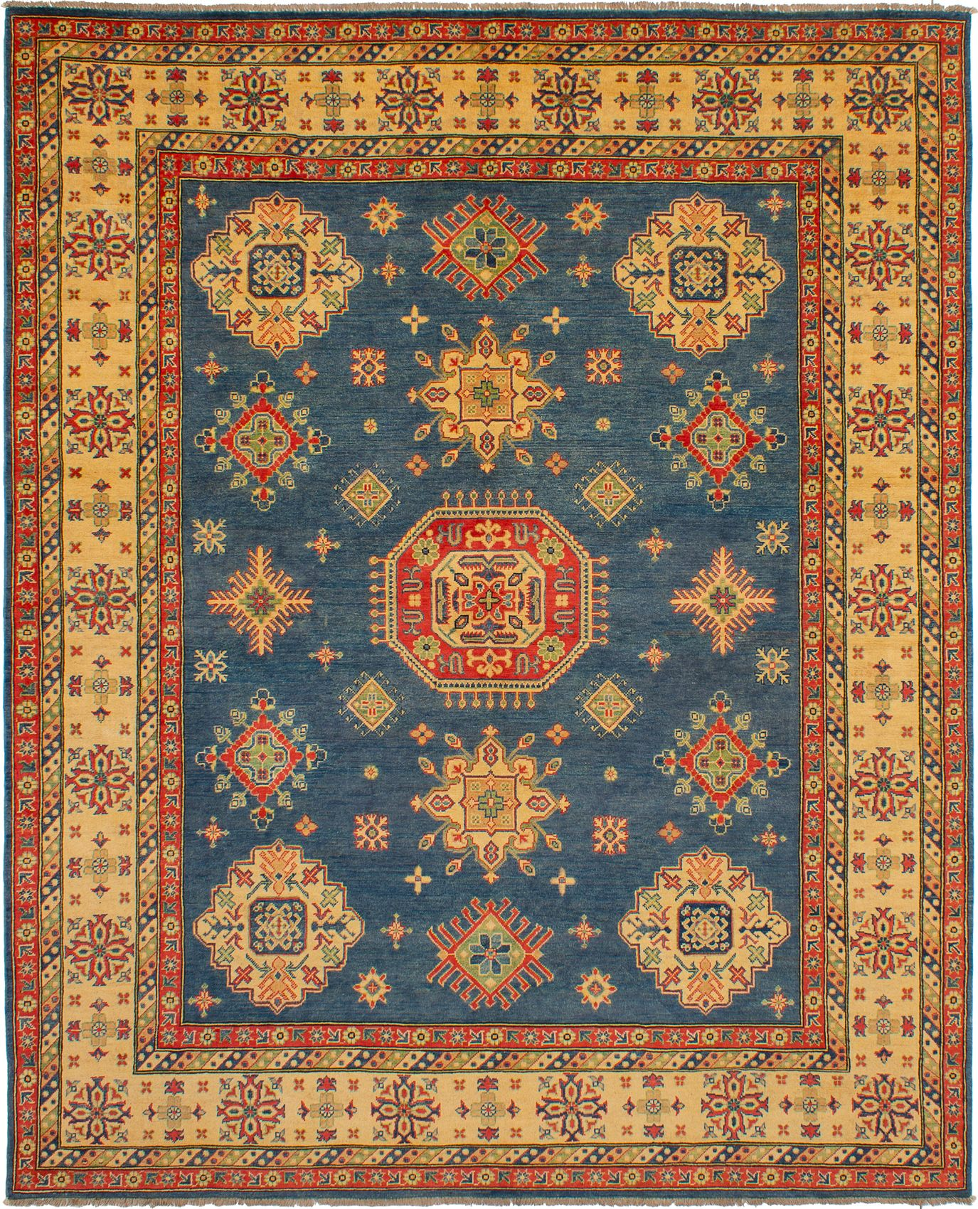 """Hand-knotted Finest Gazni Blue Wool Rug 7'10"""" x 9'9"""" Size: 7'10"""" x 9'9"""""""