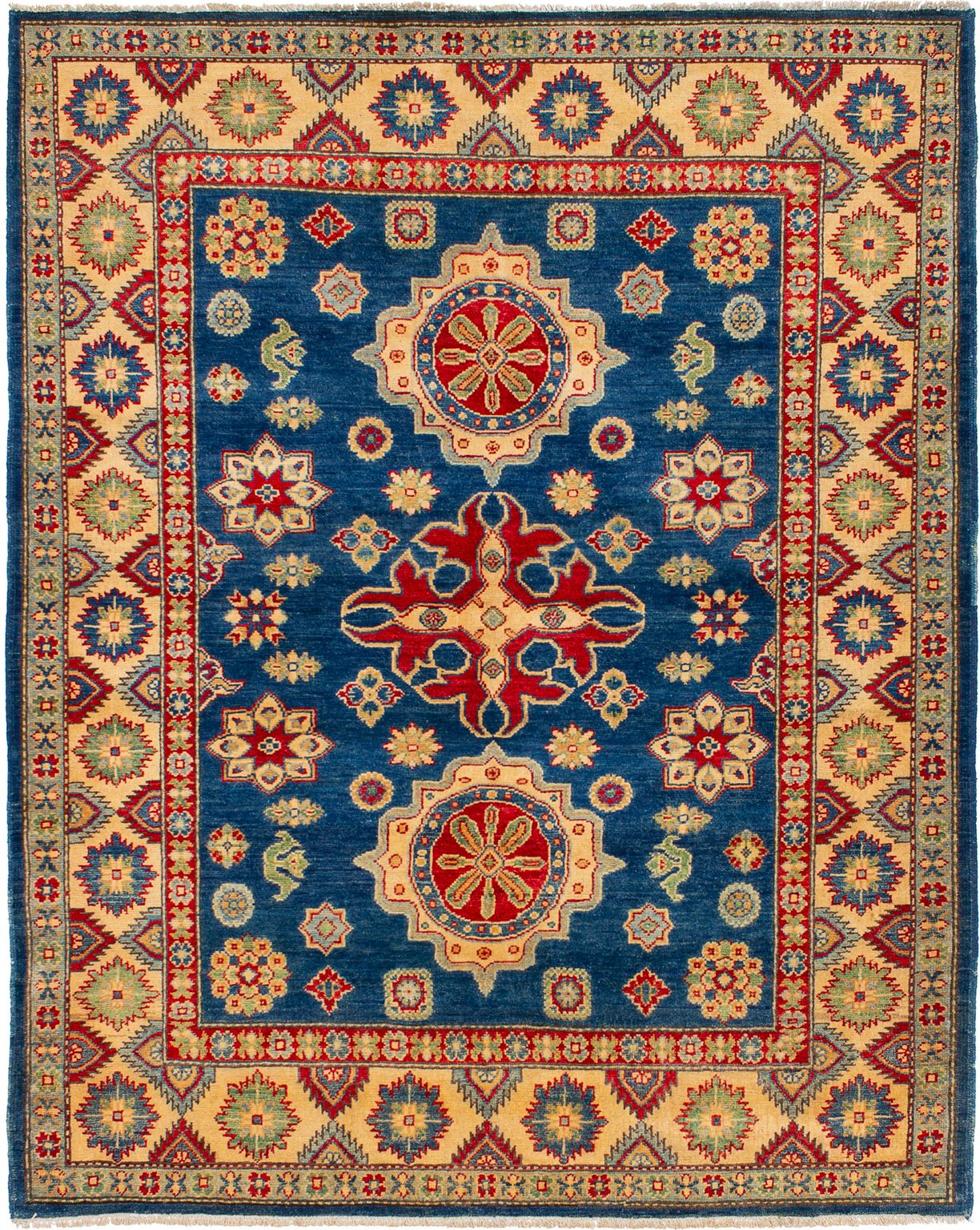 """Hand-knotted Finest Gazni Navy Blue Wool Rug 5'5"""" x 6'9"""" Size: 5'5"""" x 6'9"""""""