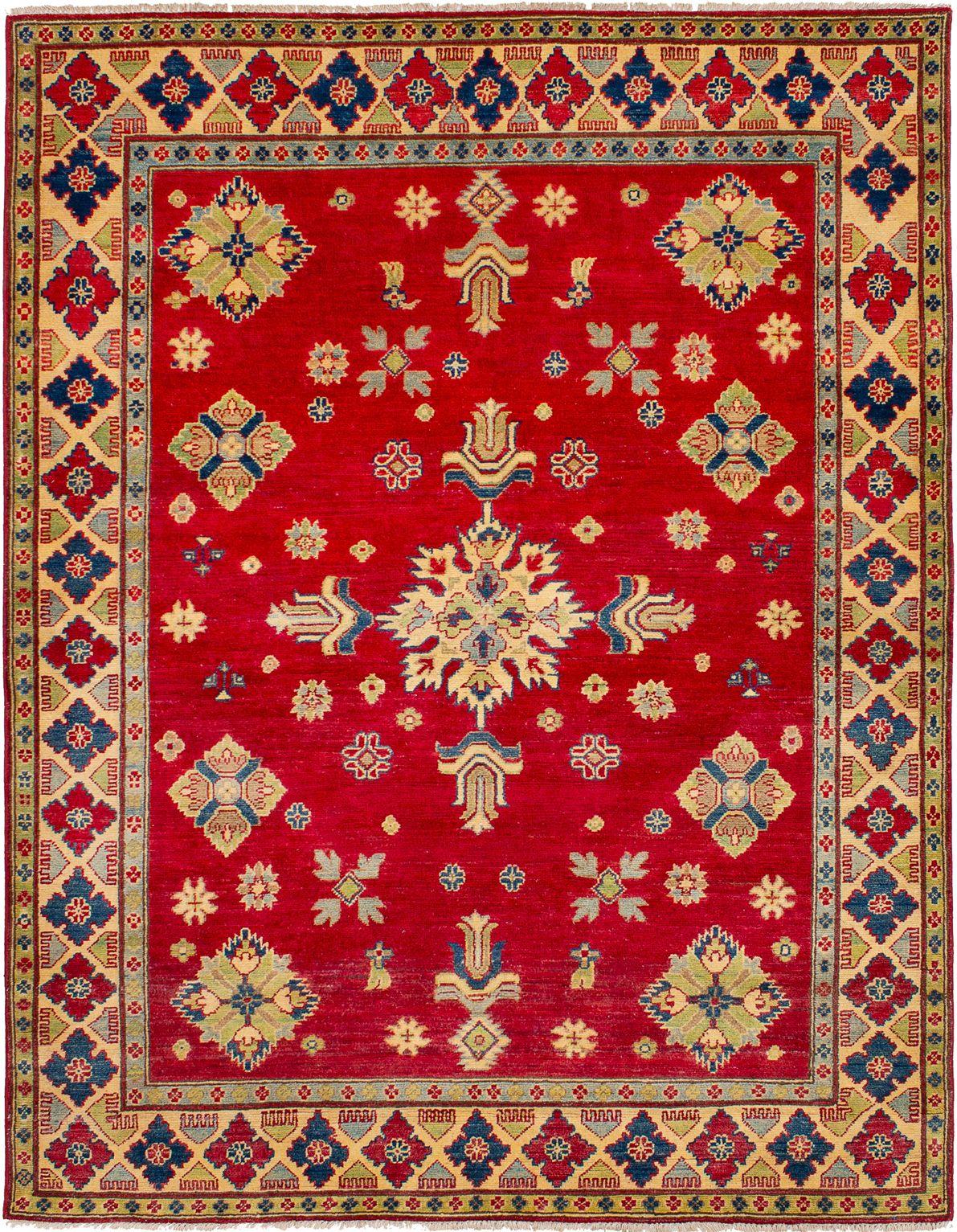 "Hand-knotted Finest Gazni Dark Red Wool Rug 5'3"" x 6'9"" Size: 5'3"" x 6'9"""