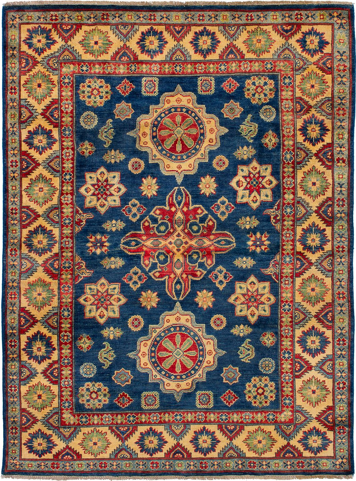 """Hand-knotted Finest Gazni Navy Blue Wool Rug 5'0"""" x 6'9"""" Size: 5'0"""" x 6'9"""""""