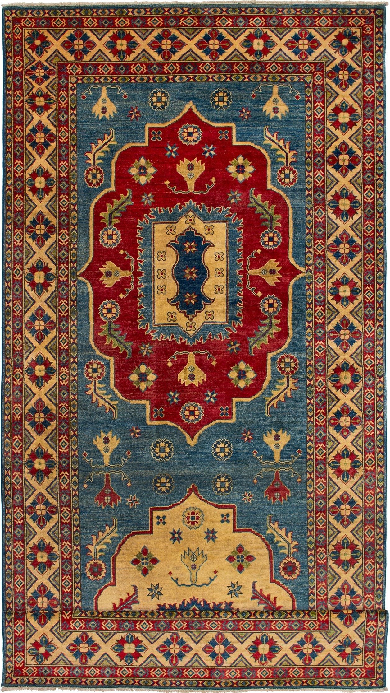 """Hand-knotted Finest Gazni Blue Wool Rug 5'5"""" x 19'6"""" Size: 5'5"""" x 19'6"""""""