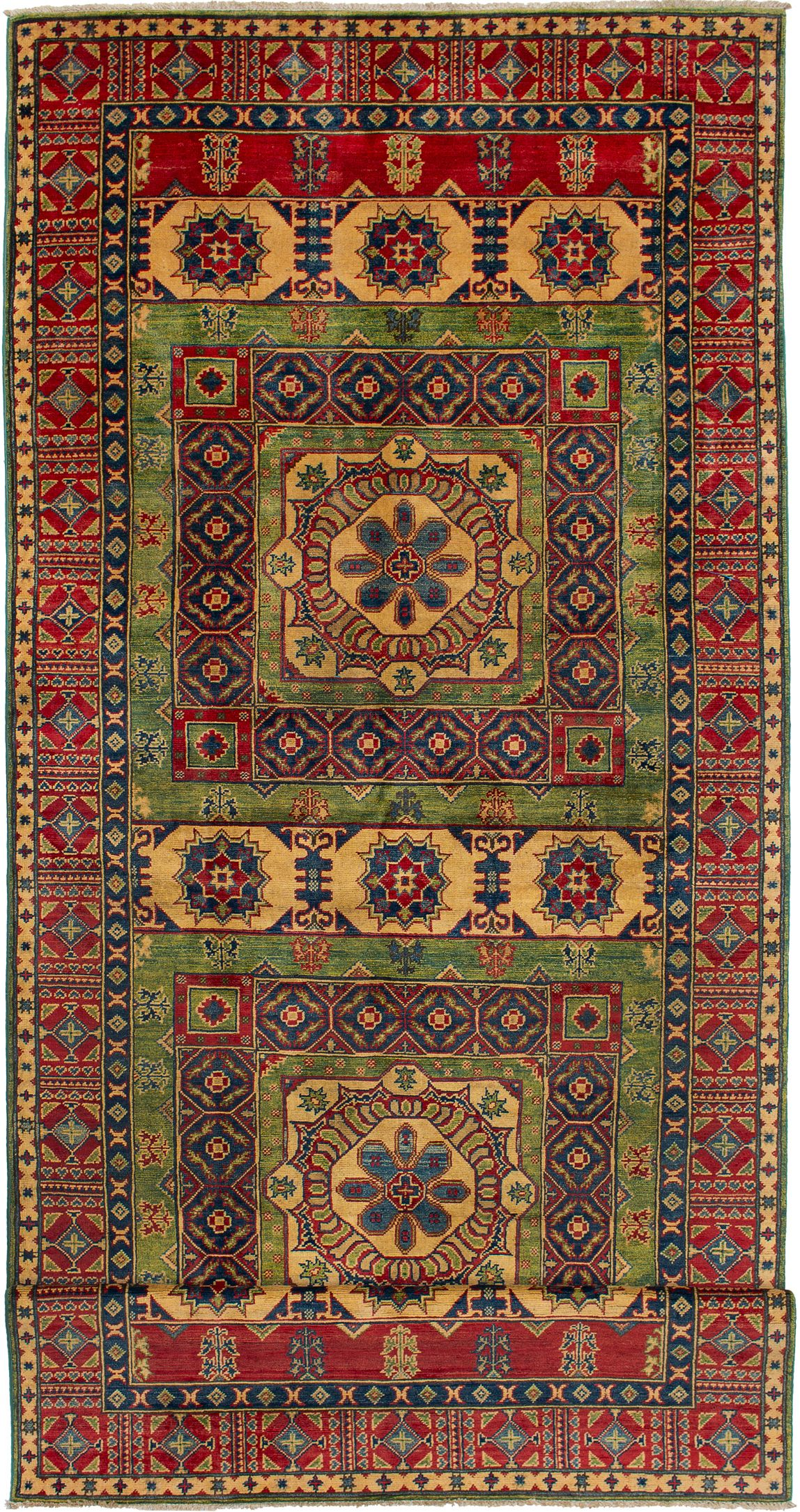 "Hand-knotted Finest Gazni Green, Red Wool Rug 5'0"" x 19'4"" Product Image"