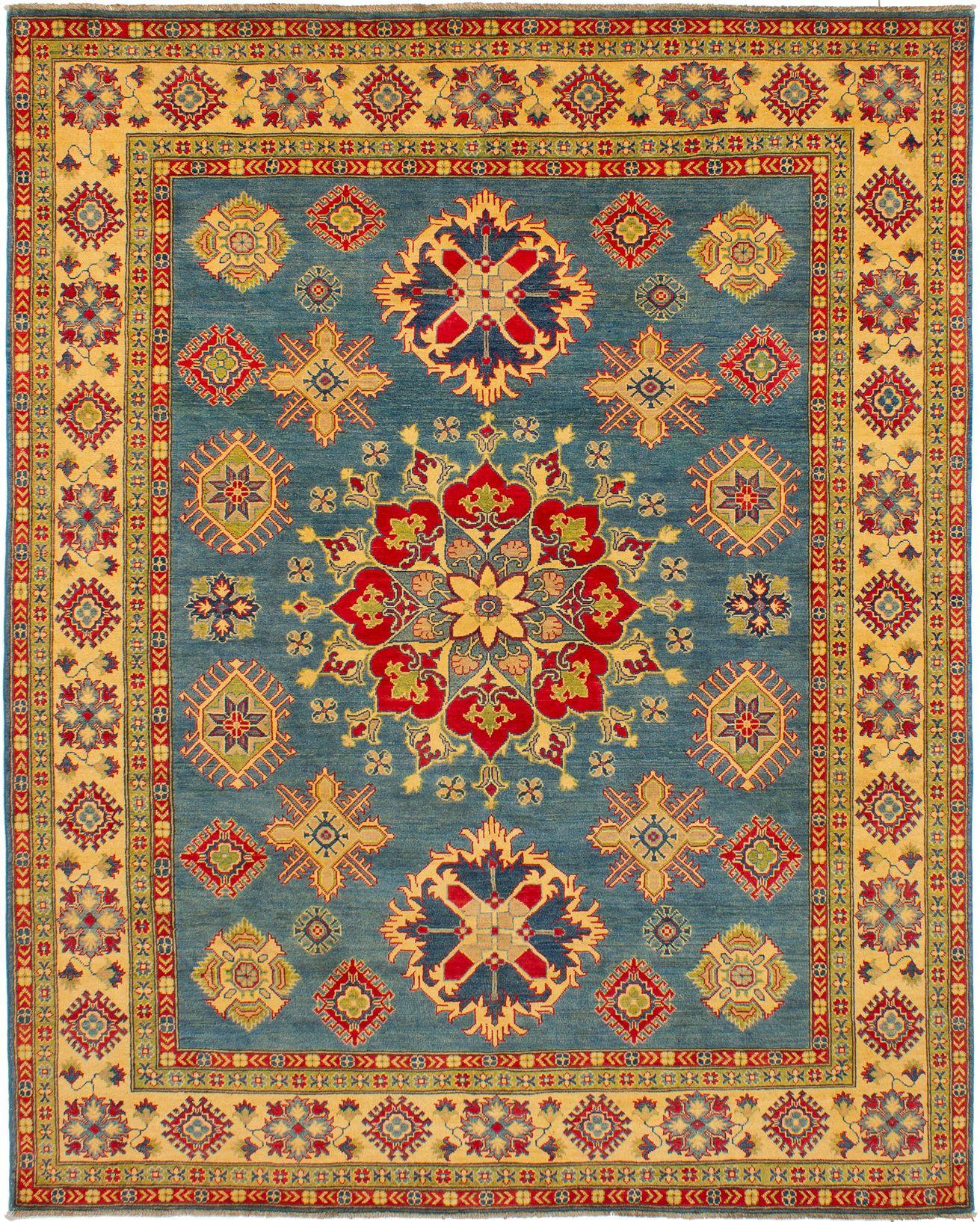 "Hand-knotted Finest Gazni Dark Baby Blue,  Wool Rug 8'0"" x 10'1"" Size: 8'0"" x 10'1"""