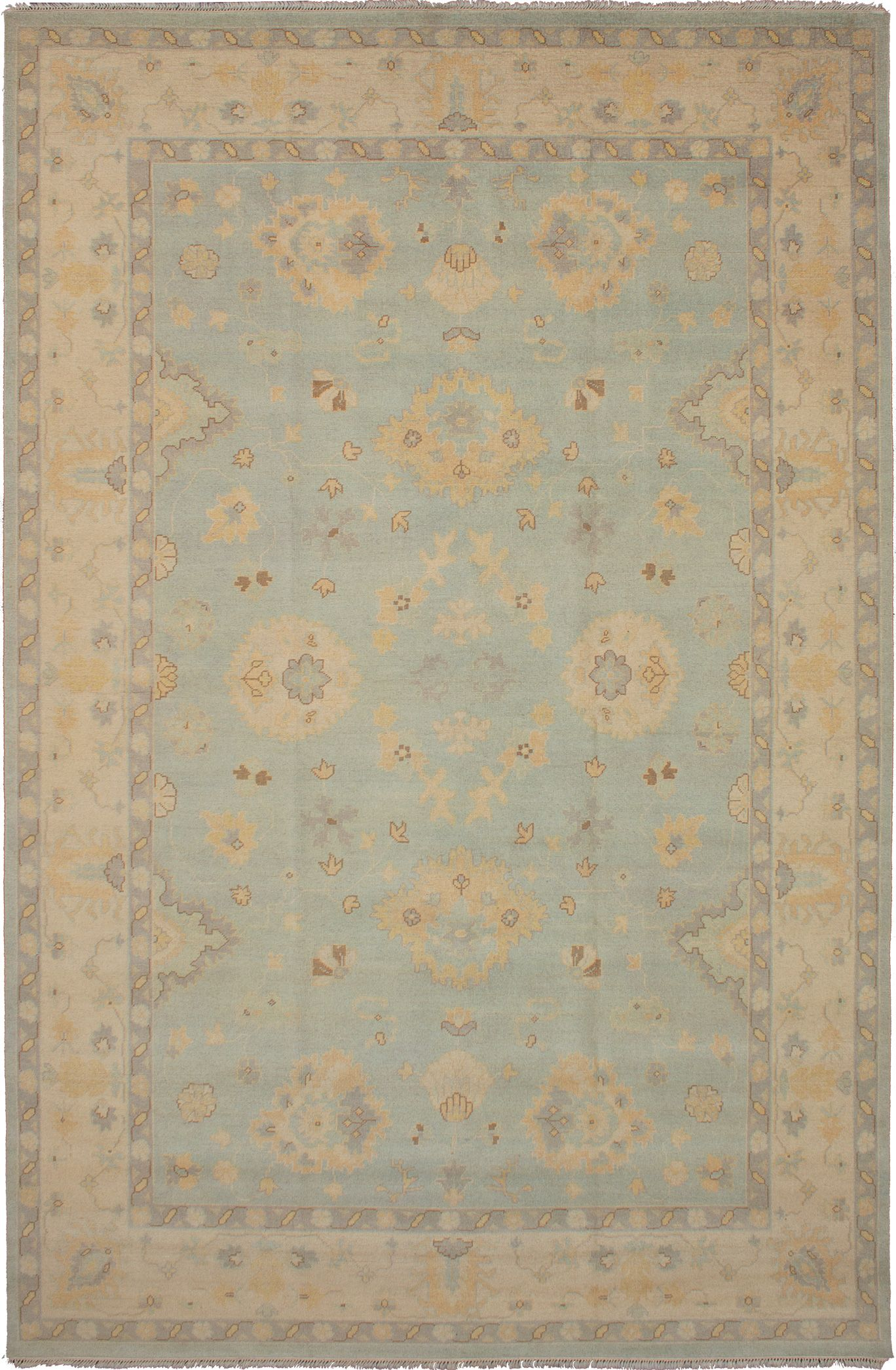 """Hand-knotted Elysee Finest Ushak Light Blue  Wool Rug 10'2"""" x 15'7"""" Size: 10'2"""" x 15'7"""""""