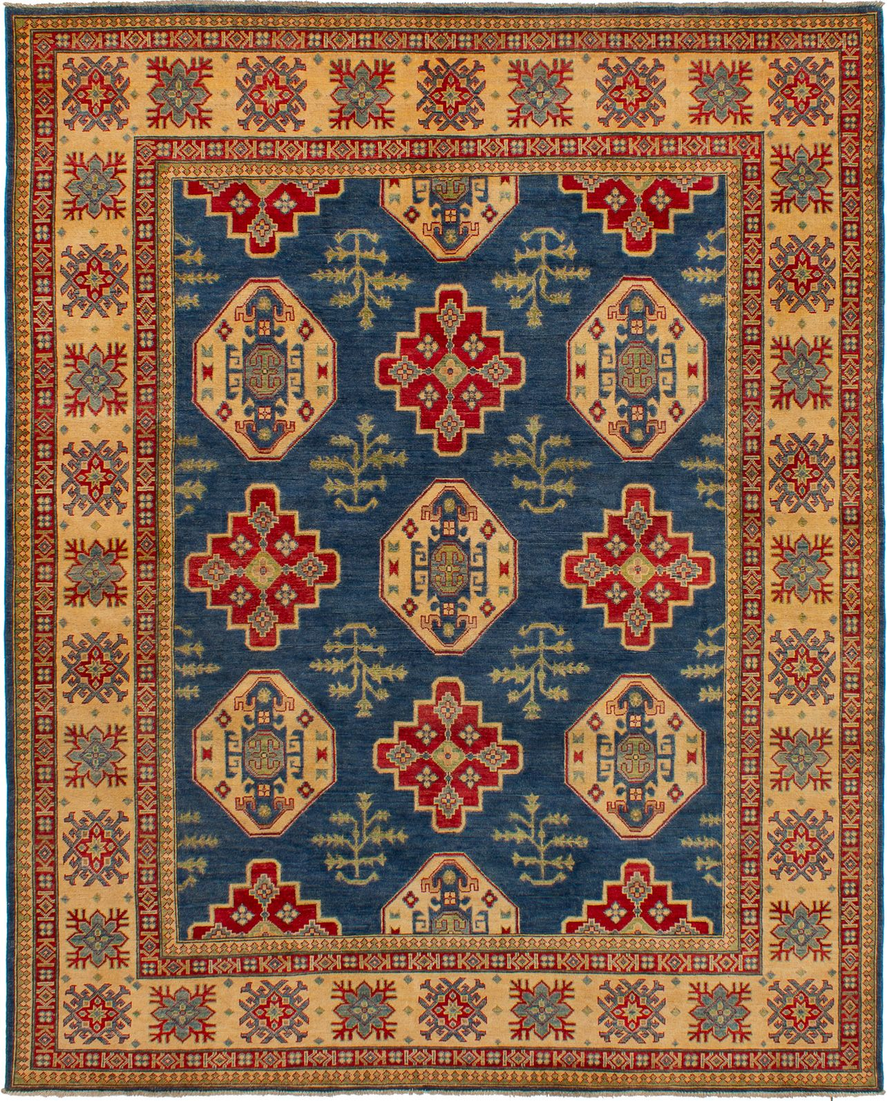 "Hand-knotted Finest Gazni Dark Blue Wool Rug 7'10"" x 9'9"" Size: 7'10"" x 9'9"""