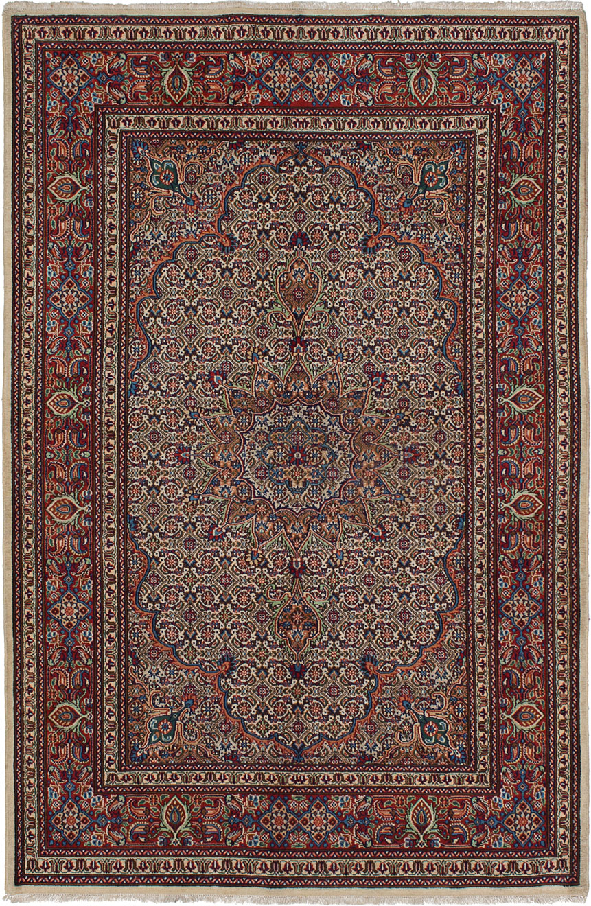 "Hand-knotted Mood Birjand Red Wool Rug 4'2"" x 6'5"" Size: 4'2"" x 6'5"""