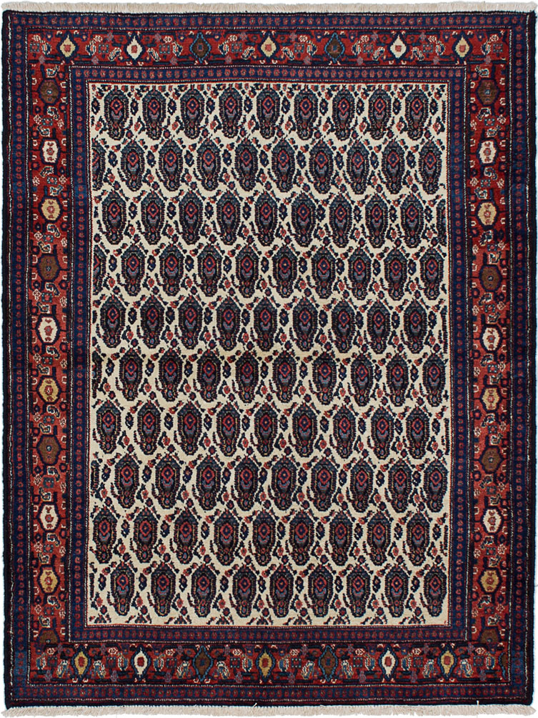 """Hand-knotted Senneh Cream, Navy Blue Wool Rug 3'9"""" x 4'11"""" Size: 3'9"""" x 4'11"""""""