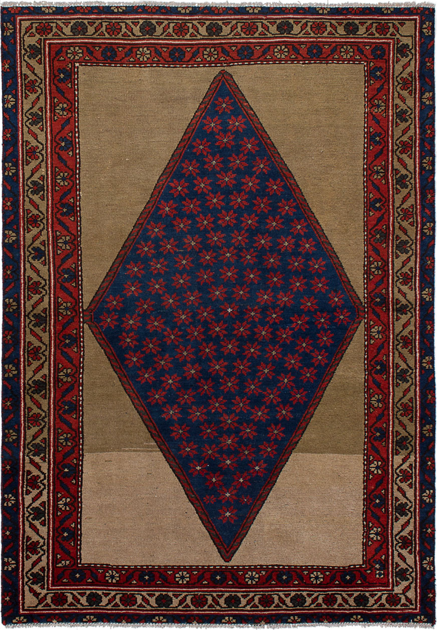 """Hand-knotted Persian Vintage Navy Blue Wool Rug 4'3"""" x 6'1"""" Size: 4'3"""" x 6'1"""""""