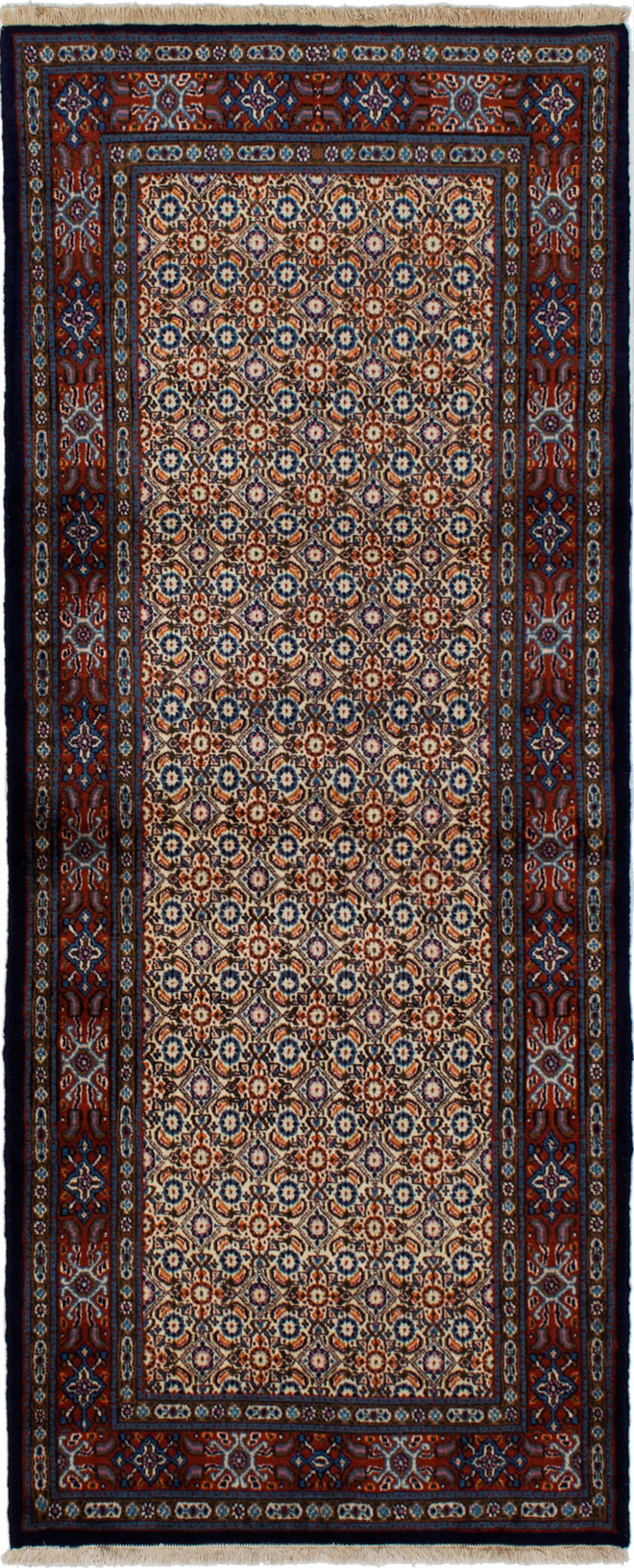"Hand-knotted Mood Birjand Cream, Red Wool Rug 2'8"" x 6'7"" Size: 2'7"" x 6'7"""