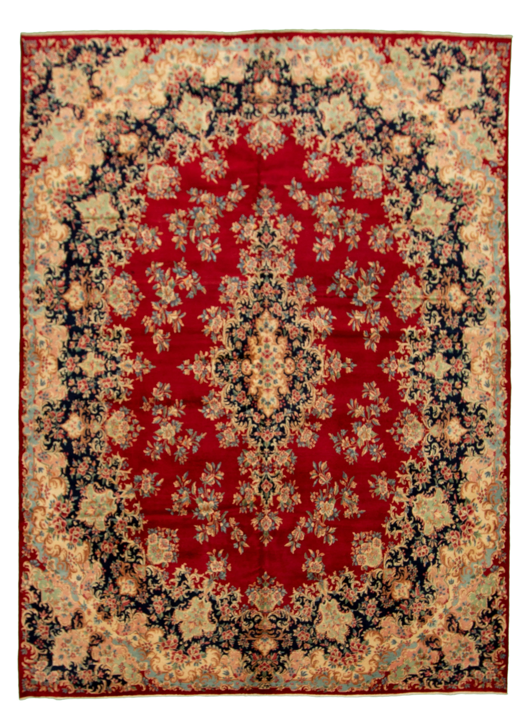 "Hand-knotted Kerman Red Wool Rug 8'9"" x 12'0"" Size: 8'9"" x 12'0"""
