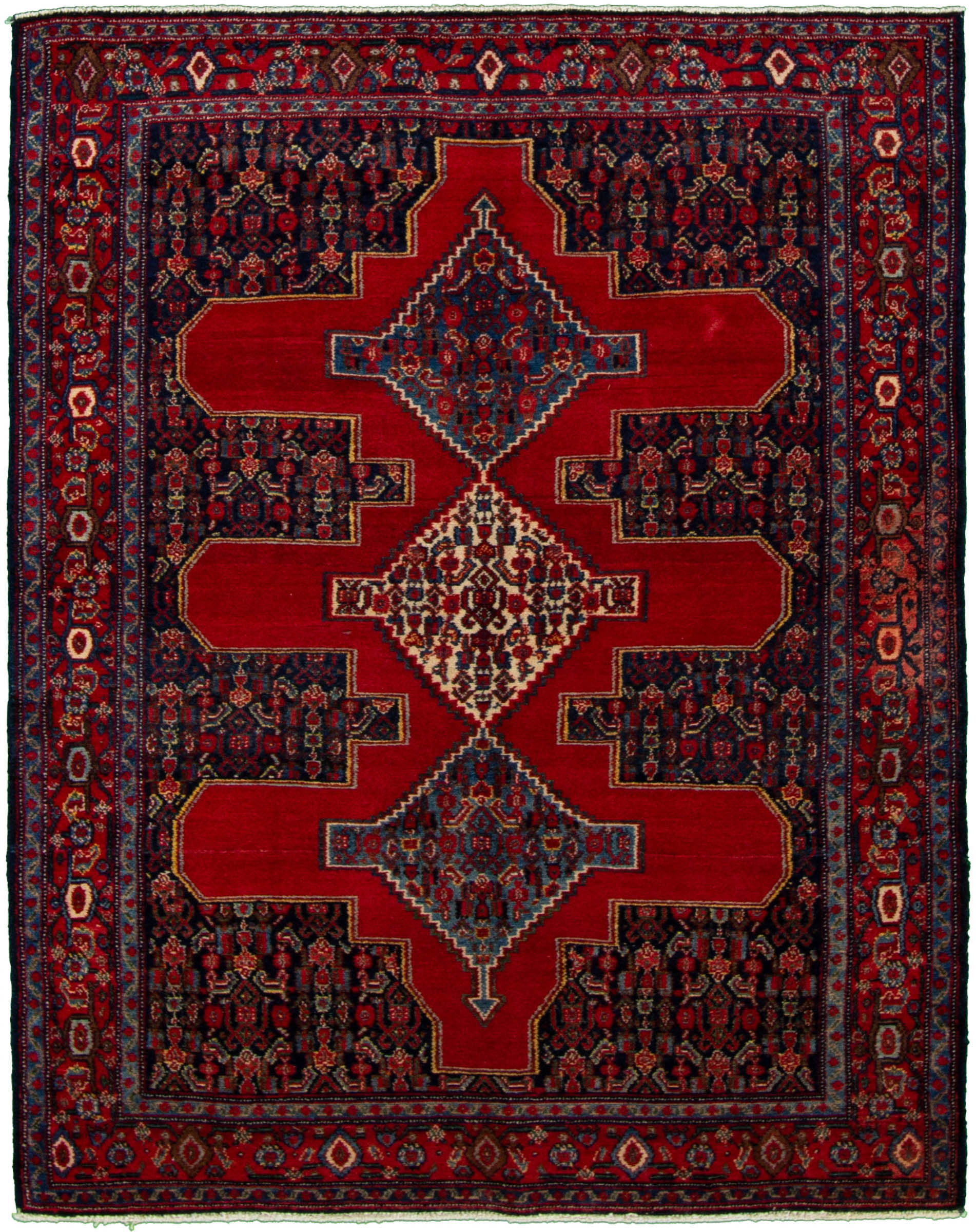 """Hand-knotted Sarough Red Wool Rug 3'11"""" x 5'1"""" Size: 3'11"""" x 5'1"""""""