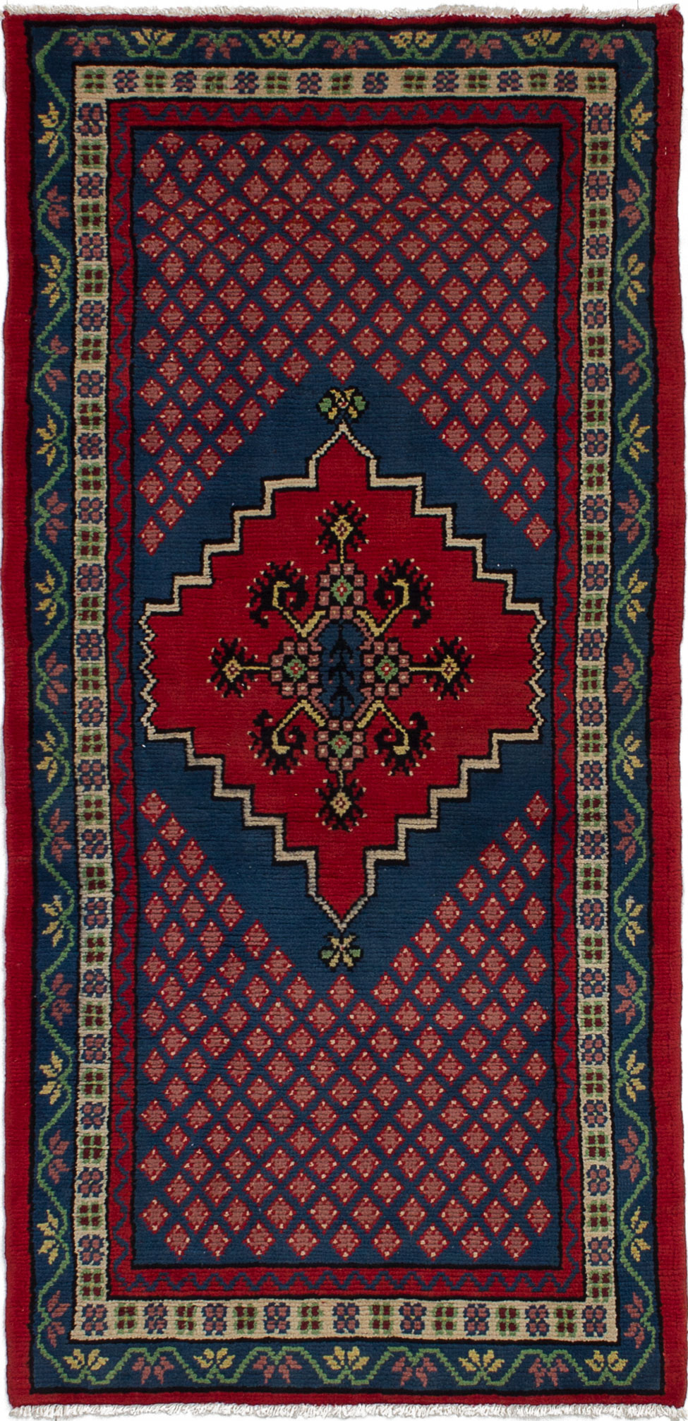 """Hand-knotted Royal Maroc Blue, Red Wool Rug 2'8"""" x 5'7"""" Size: 2'8"""" x 5'7"""""""