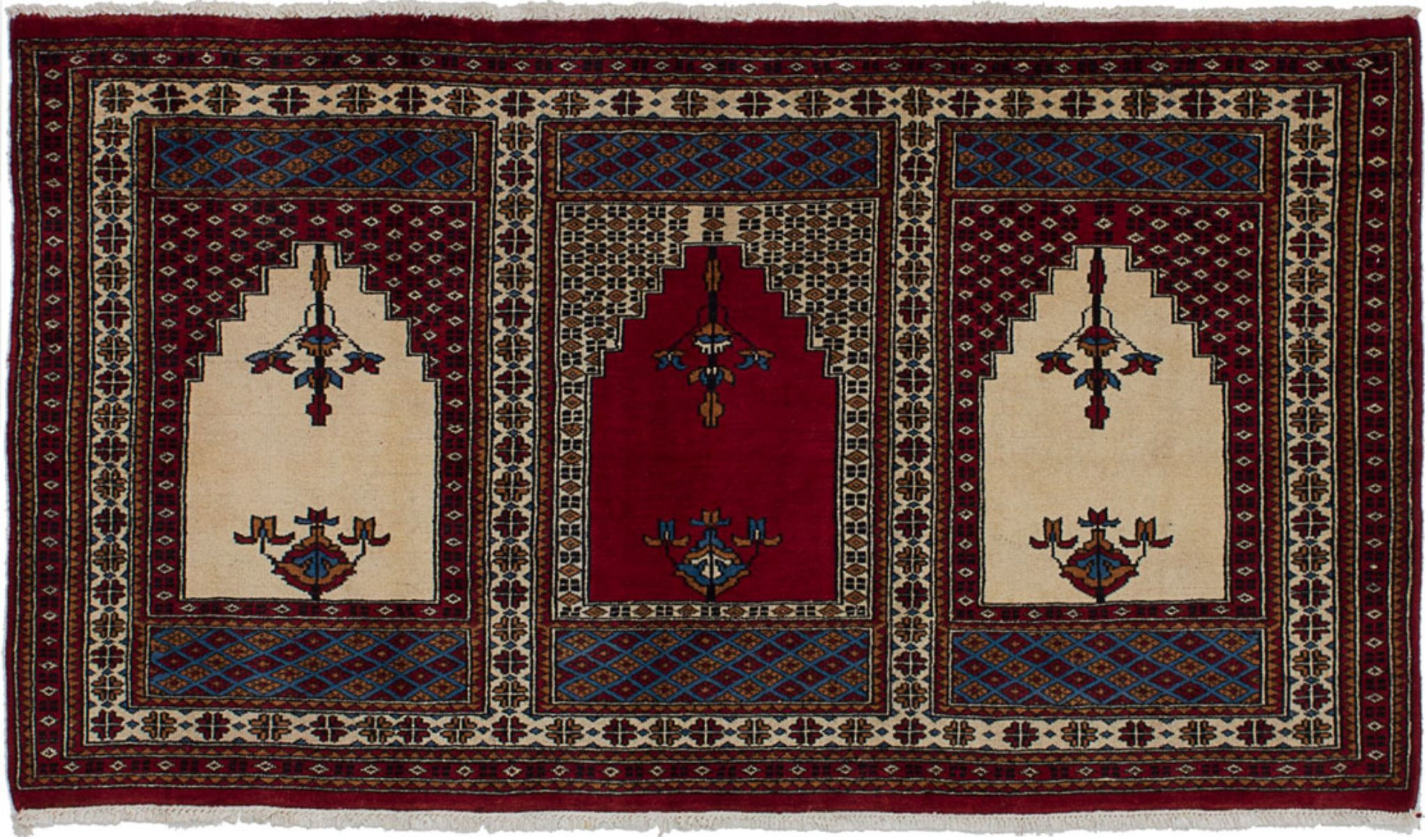 """Hand-knotted Pako Vintage Cream, Red Wool Rug 5'0"""" x 2'9"""" Size: 5'0"""" x 2'9"""""""