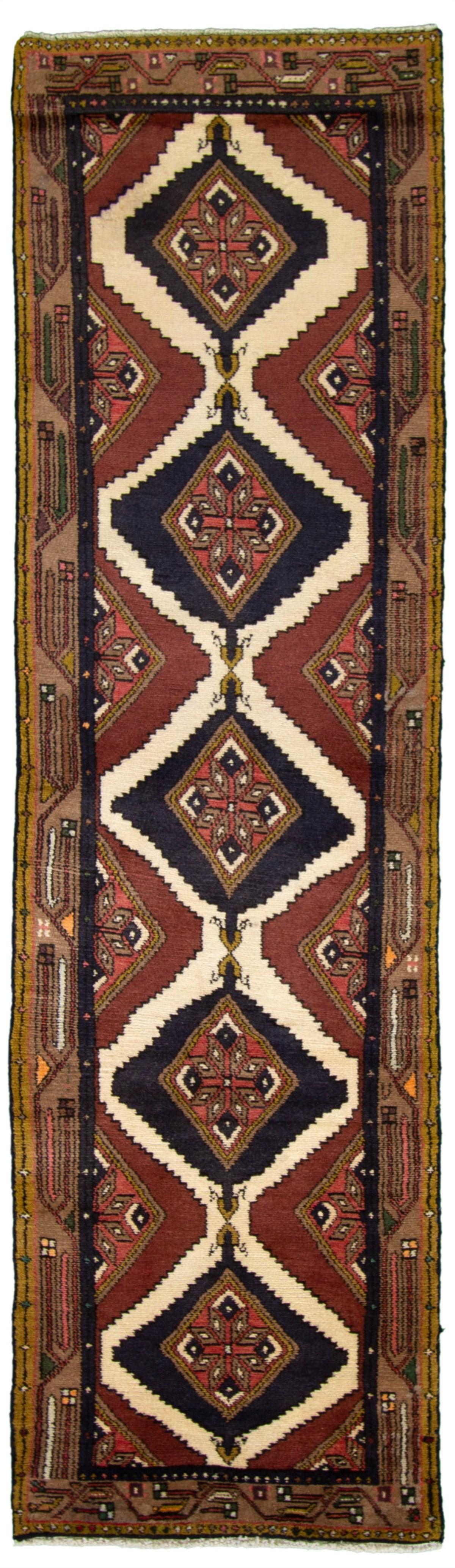 """Hand-knotted Darjazin Cream, Dark Red Wool Rug 2'7"""" x 10'0"""" Size: 2'7"""" x 10'0"""""""