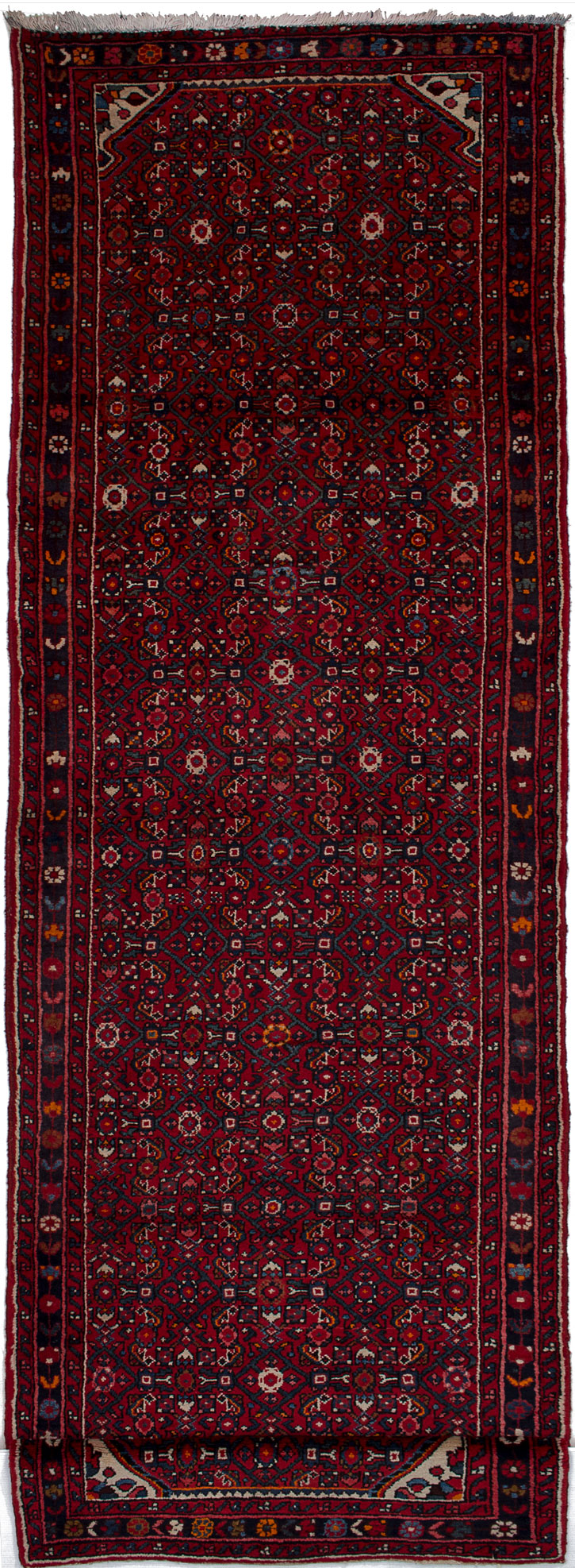 """Hand-knotted Hosseinabad Red Wool Rug 3'6"""" x 13'1"""" Size: 3'6"""" x 13'1"""""""