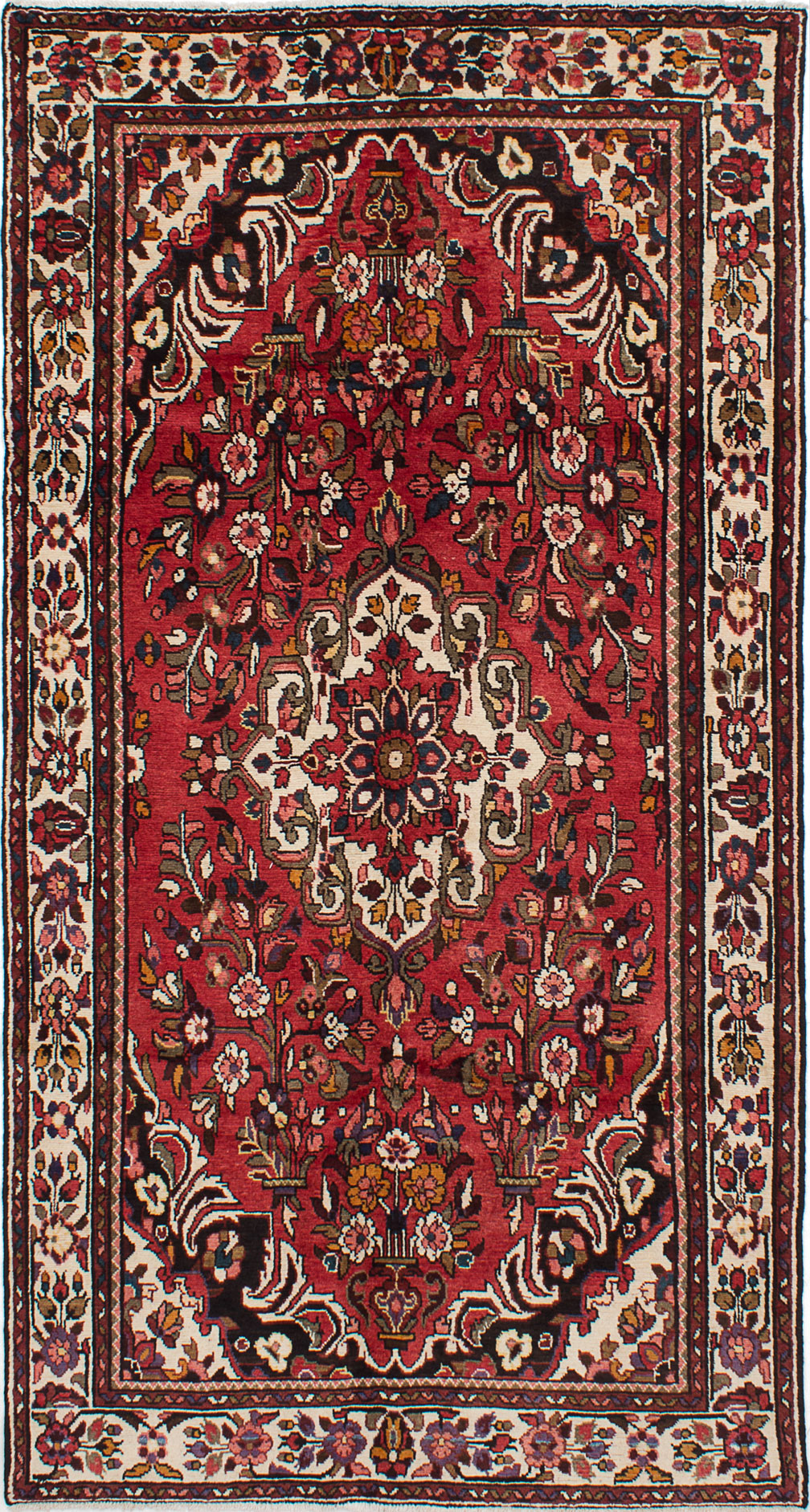 """Hand-knotted Borchelu Red Wool Rug 5'0"""" x 9'5"""" Size: 5'0"""" x 9'5"""""""