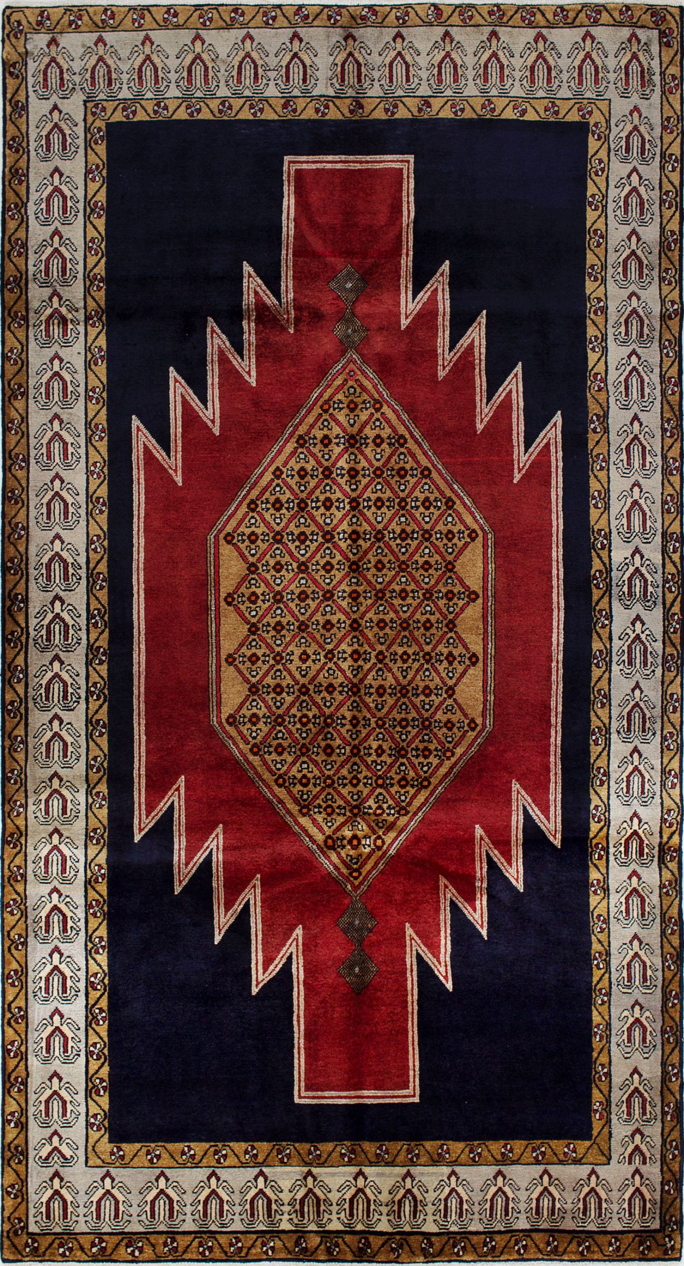 """Hand-knotted Ardabil Dark Navy, Red Wool Rug 5'1"""" x 9'8"""" Size: 5'1"""" x 9'8"""""""