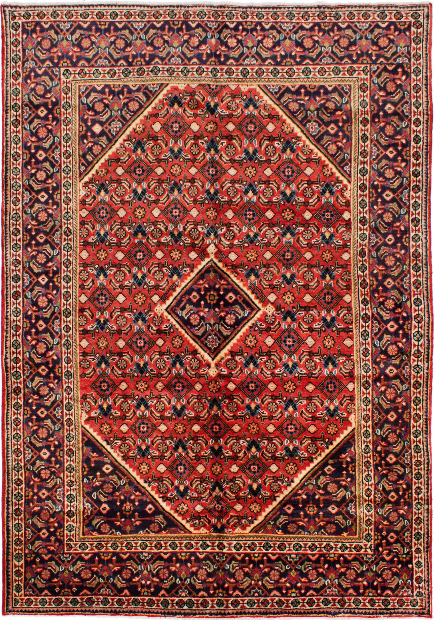 """Hand-knotted Mahal Dark Copper Wool Rug 6'10"""" x 9'11"""" Size: 6'10"""" x 9'11"""""""