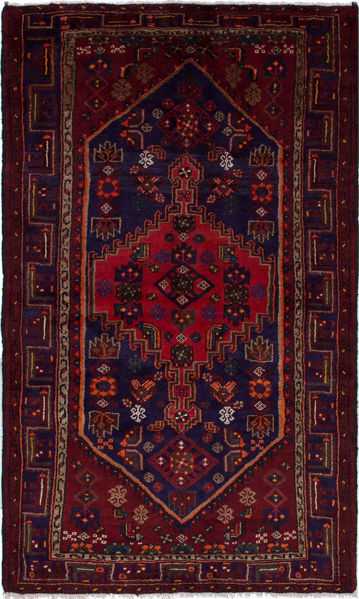 """Hand-knotted Hamadan Dark Blue, Dark Red Wool Rug 4'1"""" x 6'7"""" Size: 4'1"""" x 6'7"""""""