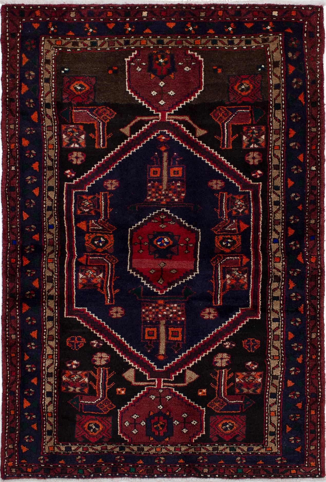 "Hand-knotted Hamadan Dark Blue Wool Rug 4'6"" x 6'7"" Size: 4'6"" x 6'7"""