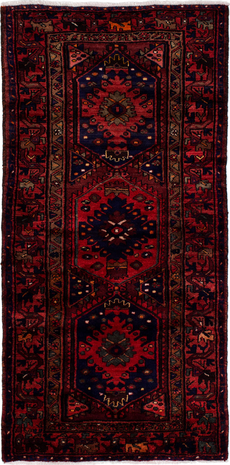 """Hand-knotted Hamadan Navy Blue, Red Wool Rug 3'5"""" x 6'11"""" Size: 3'5"""" x 6'11"""""""