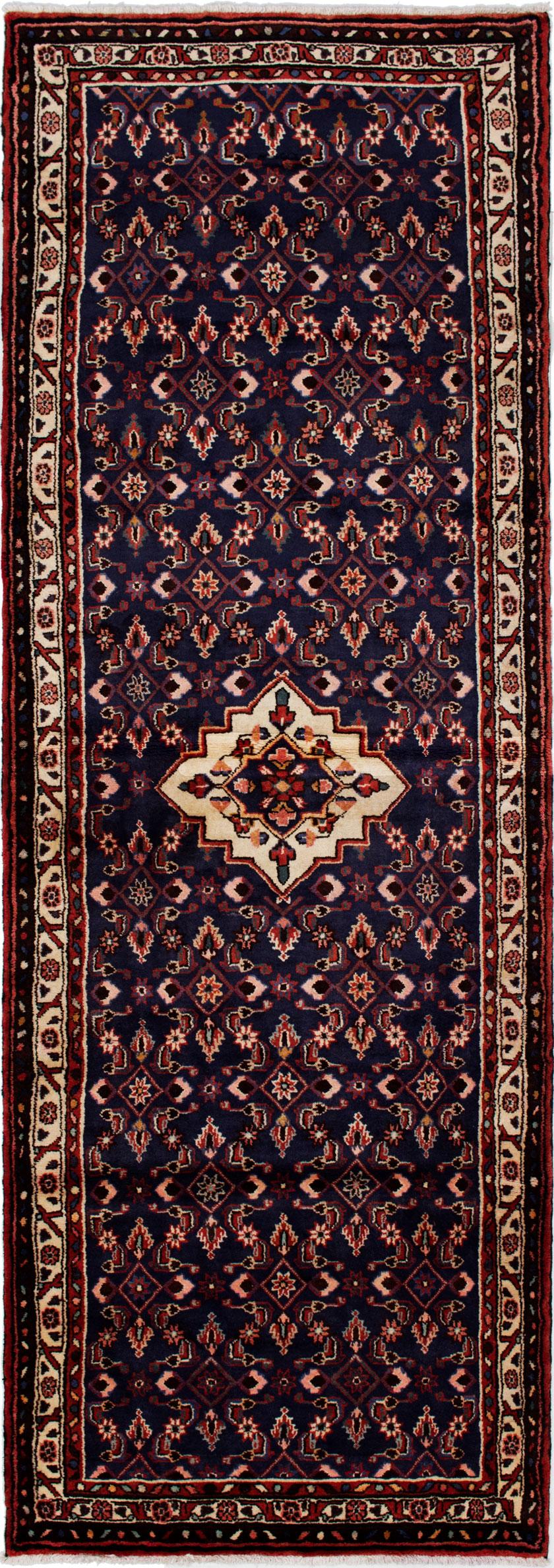 "Hand-knotted Hamadan Dark Blue Wool Rug 3'7"" x 10'4"" Size: 3'7"" x 10'4"""