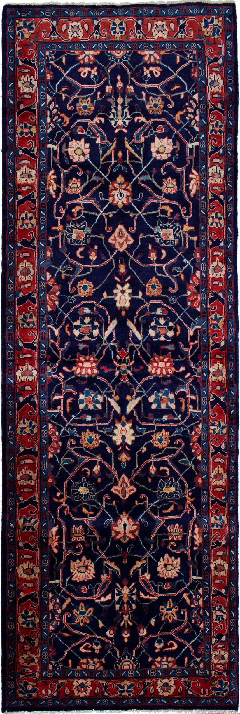 """Hand-knotted Mahal Navy Blue Wool Rug 3'5"""" x 10'10"""" Size: 3'5"""" x 10'10"""""""