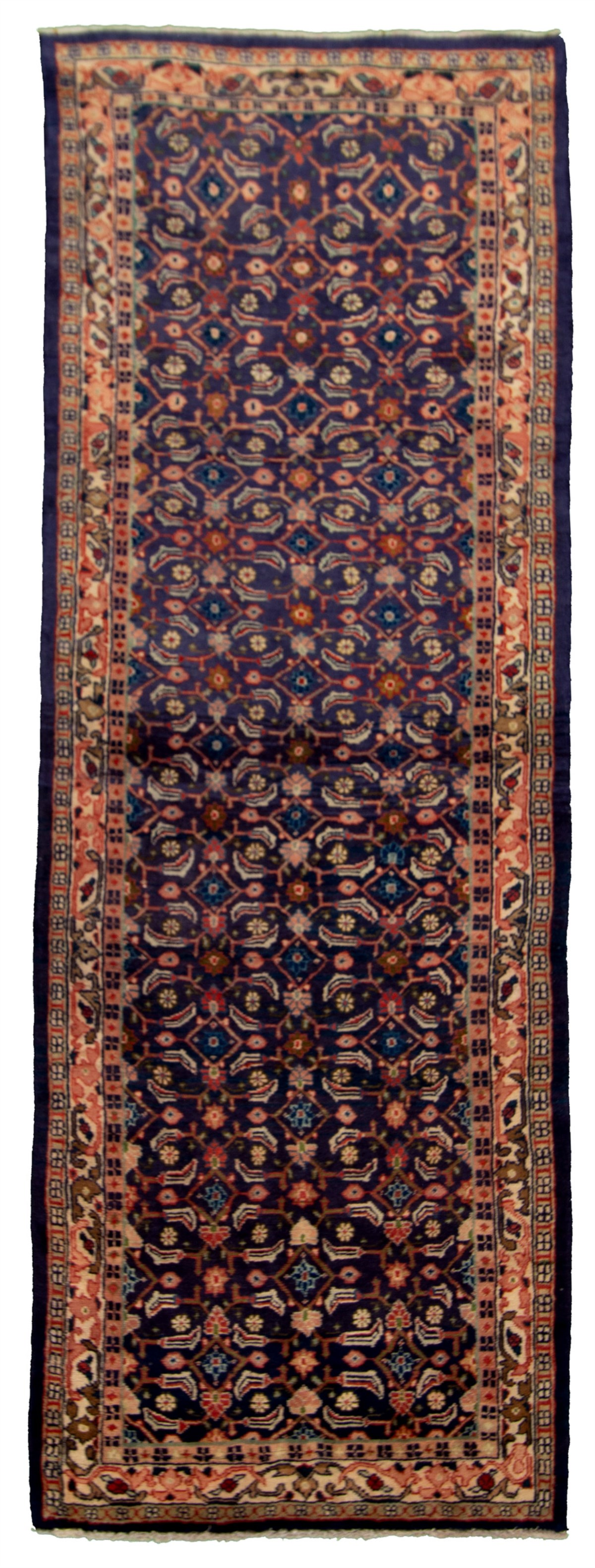 """Hand-knotted Mahal Navy Blue Wool Rug 3'3"""" x 10'5"""" Size: 3'3"""" x 10'5"""""""